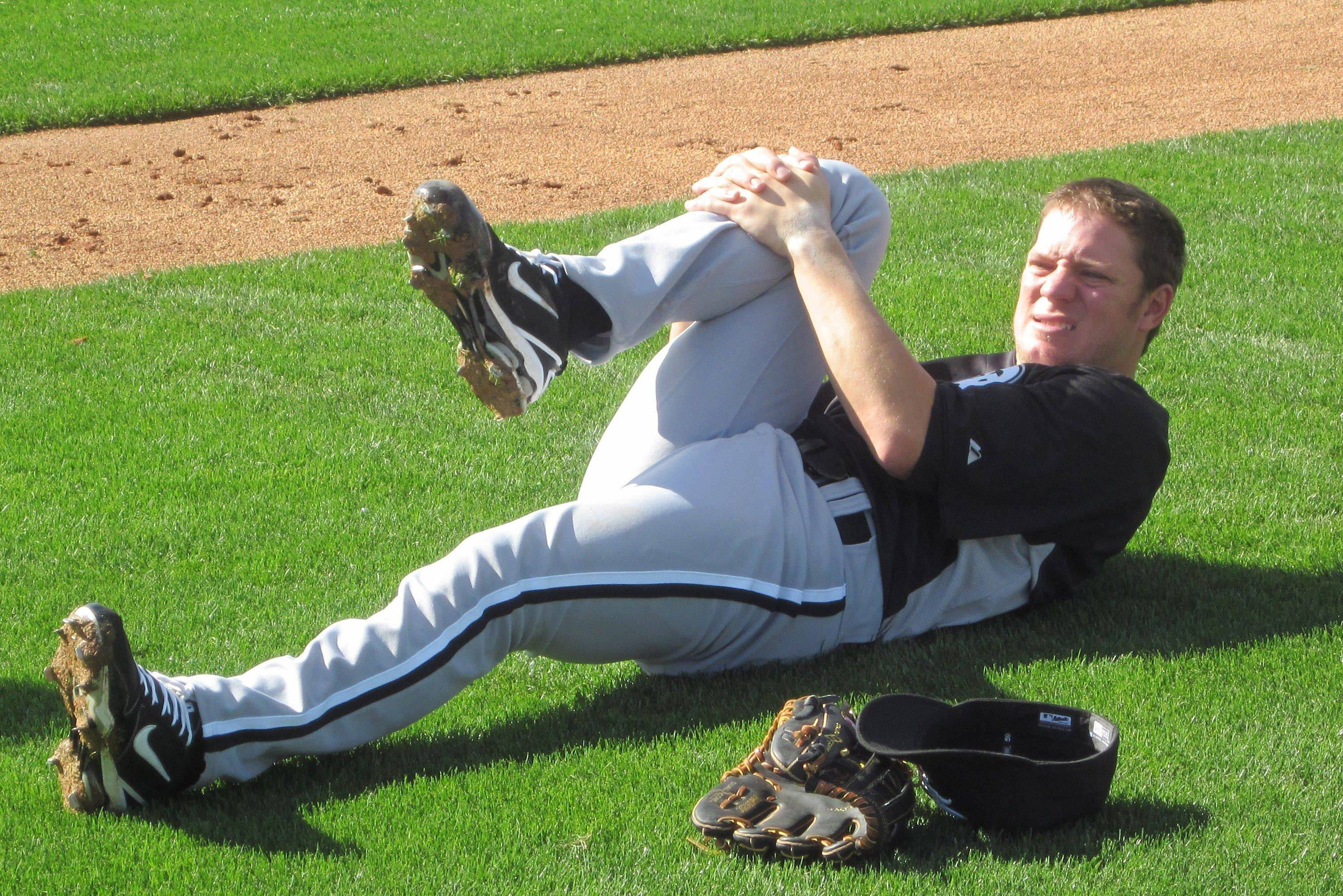 Starting pitcher Jake Peavy gets ready for work Monday at the White Sox training facilities in Glendale, Ariz.