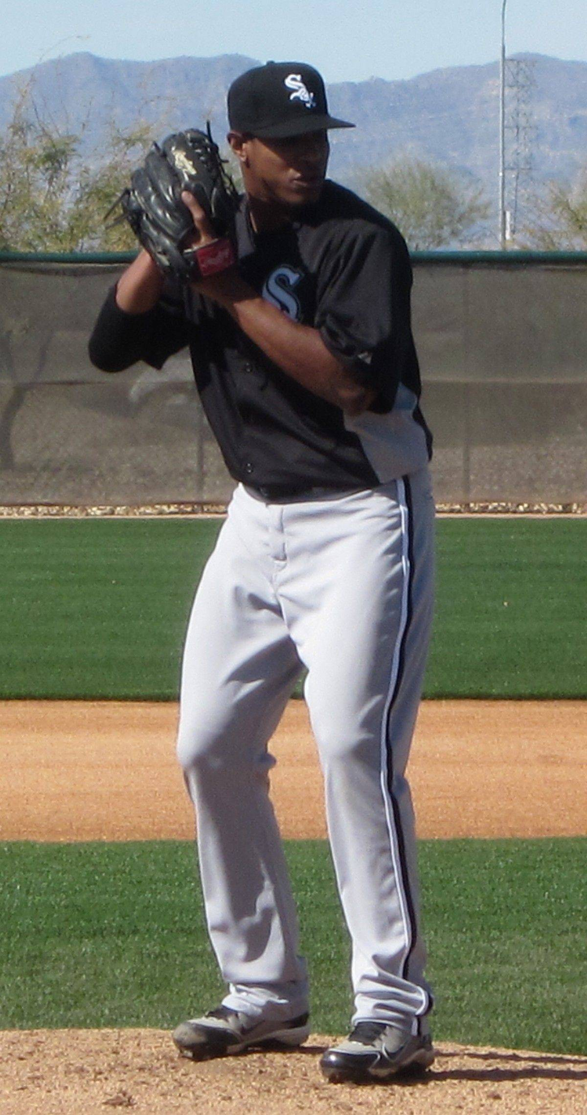 White Sox pitcher Edwin Jackson gets down to work Monday at the White Sox training facilities in Glendale, Ariz.