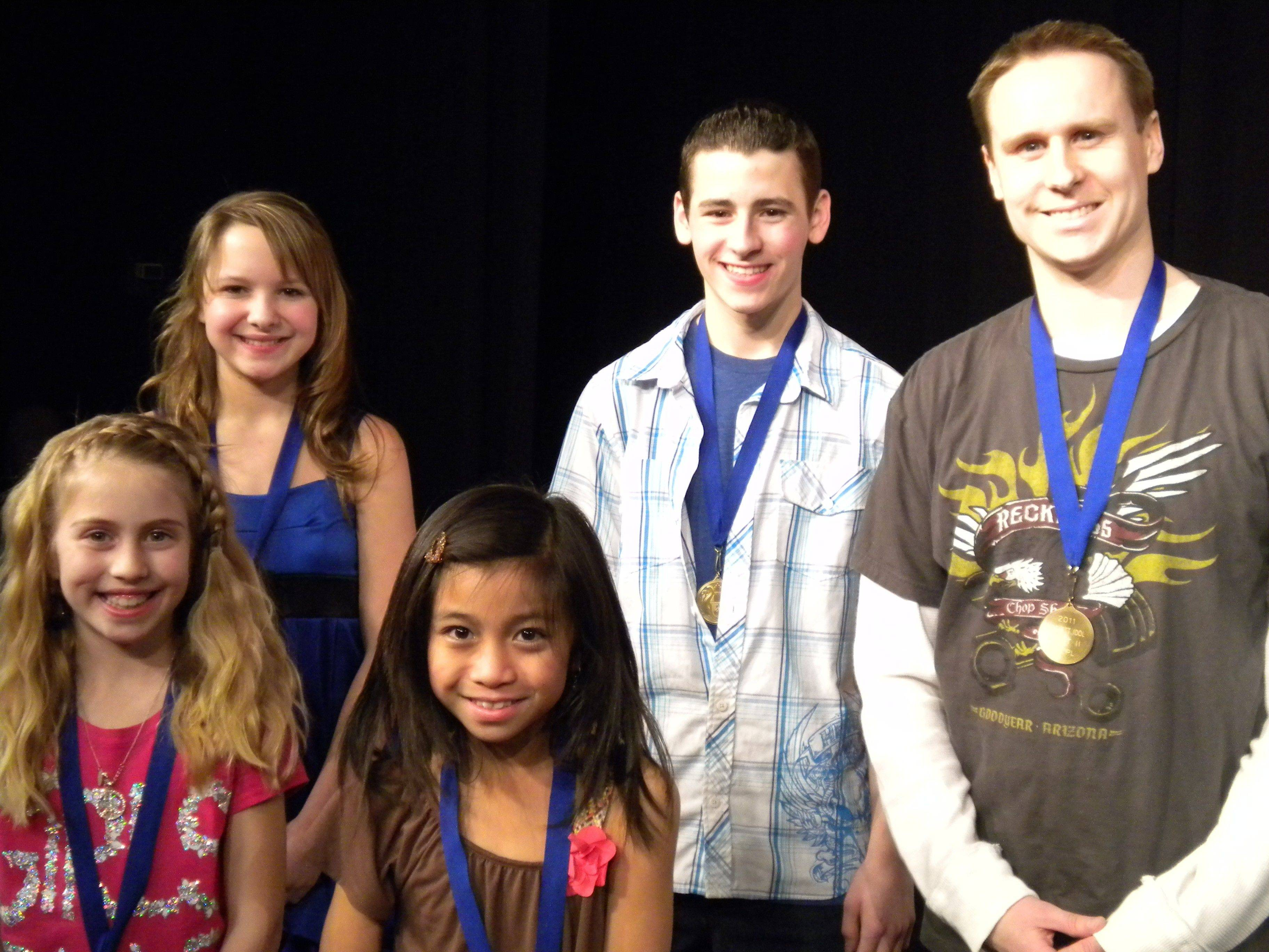 The 2011 Bartlett Idol winners, from left, are: Front row: Alyssa Harvey and Jillian Zaguirre; and back row: Molli Miller, Nicholas Petrelli, and Austin Hopkins all of Bartlett.