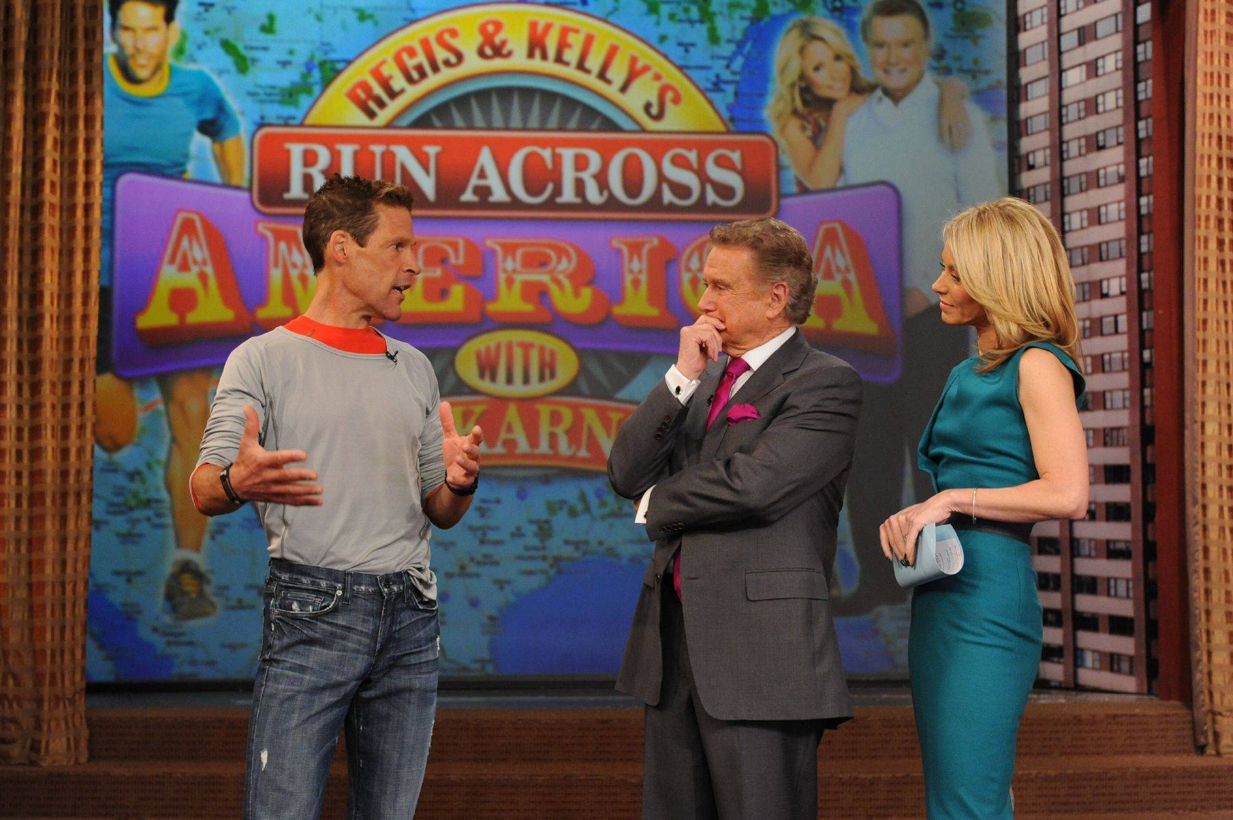 Marathoner Dean Karnazes, left, with hosts Regis Philbin and Kelly Ripa, will run nearly 3,000 miles across the United States.