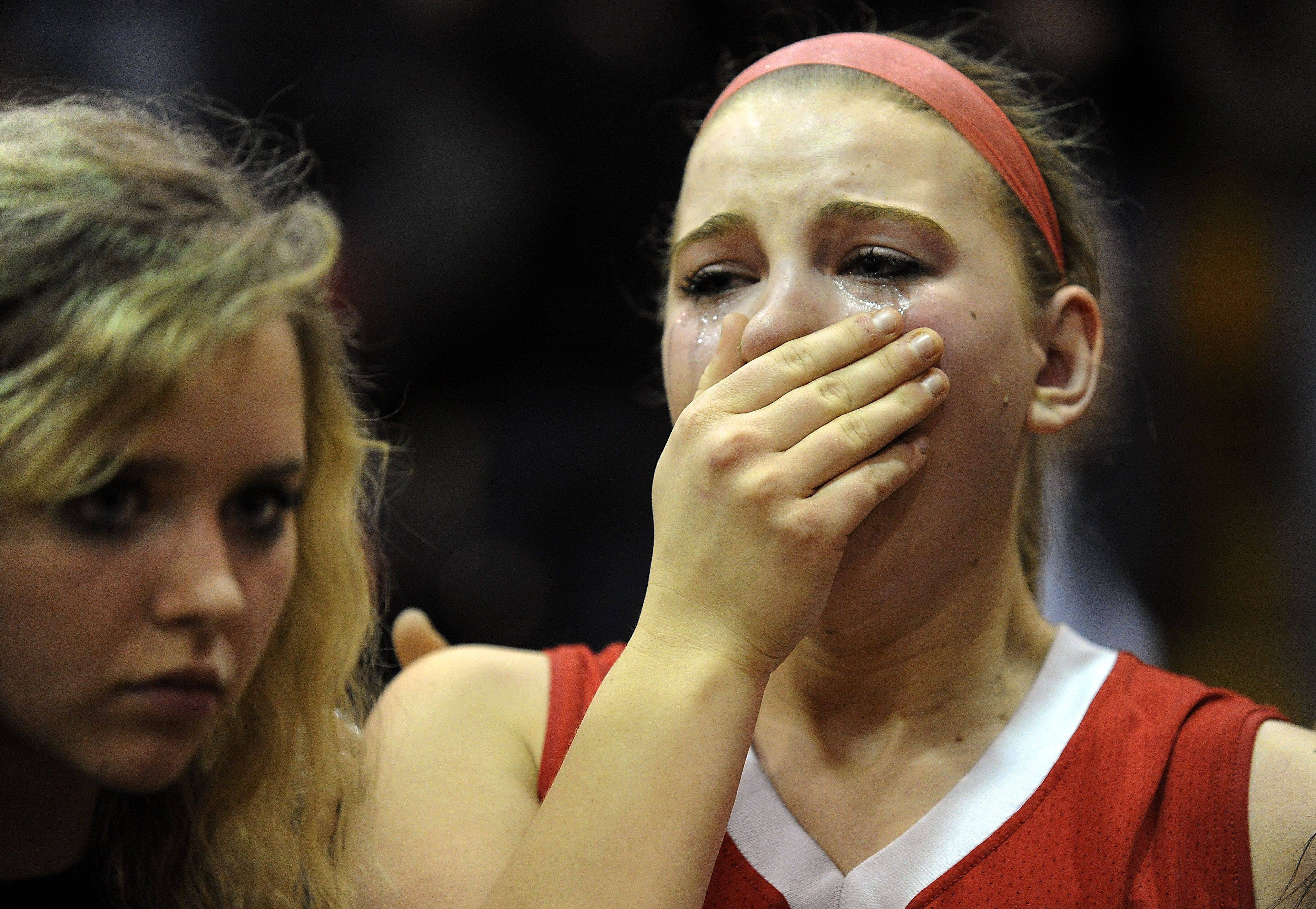 Barrington�s Lizzie Deuel feels the agony of defeat as they fall to Zion-Benton in the girls basketball sectional at Mundelein on Thursday night.