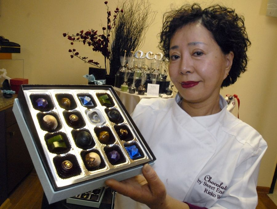 Chef and master chocolatier Rieko Wada displays her Chocouture jewelry box that will be included in the gift bags for the Academy Award nominees this year. Wada's Chocolatines shop in Schaumburg had its candies included in the Grammy, Emmy and Academy Awards gift bags in 2010.