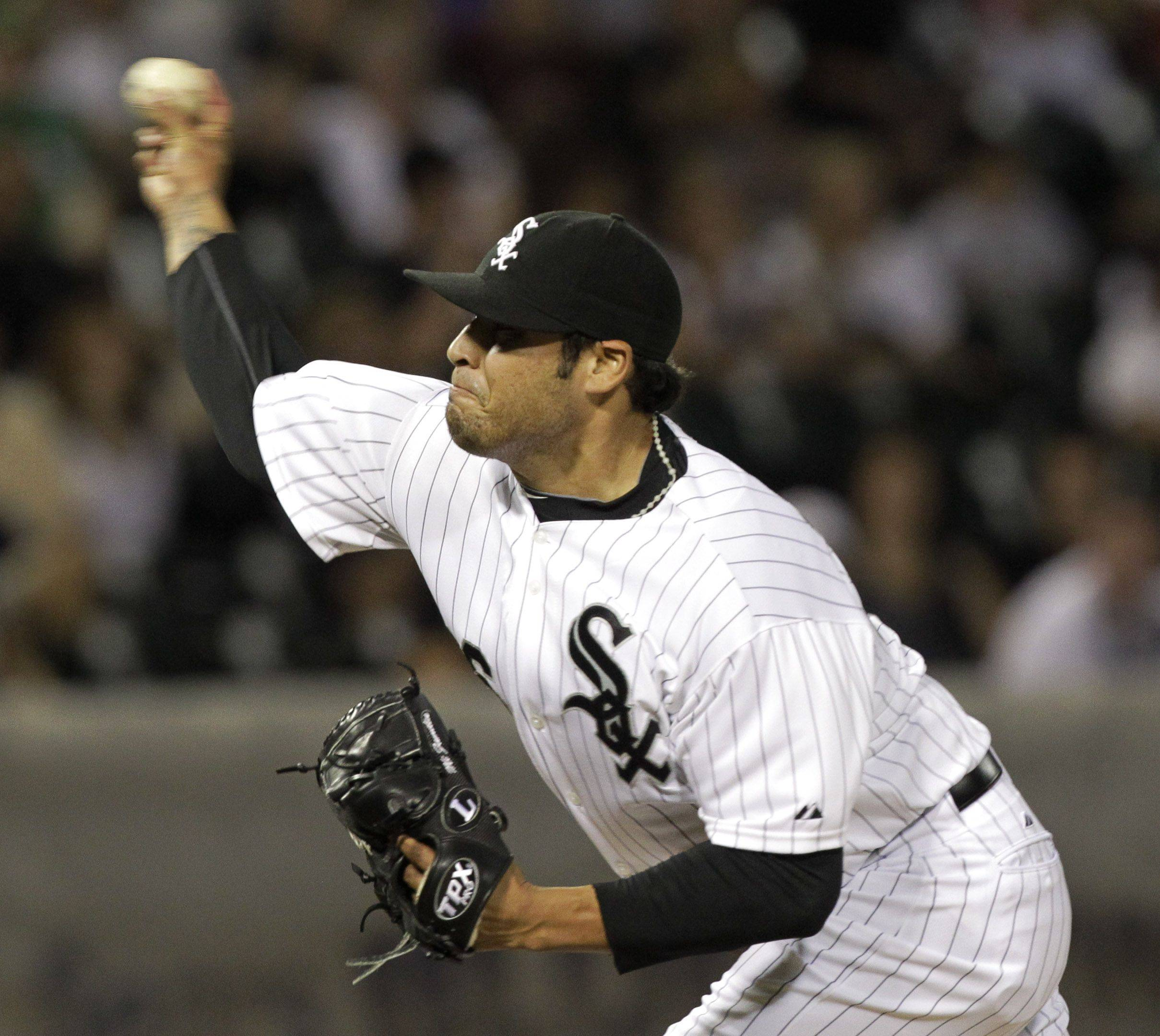 Chicago White Sox relief pitcher Sergio Santos set a team record by opening the season with 12 straight scoreless appearances.