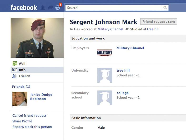 This screen shot take from Facebook.com on Thursday shows a Facebook page set up by a person impersonating Army Sgt. James Hursey and showing Facebook friend Janice Robinson.