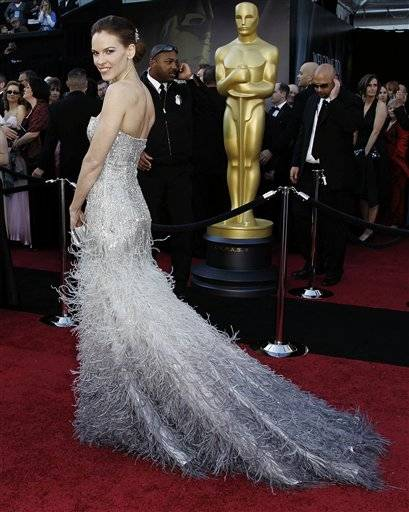 Actress Hilary Swank arrives at the Oscars Sunday.