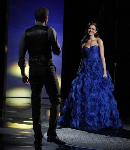 Zachary Levi, left, and Mandy Moore perform at the 83rd Academy Awards on Sunday in the Hollywood section of Los Angeles.