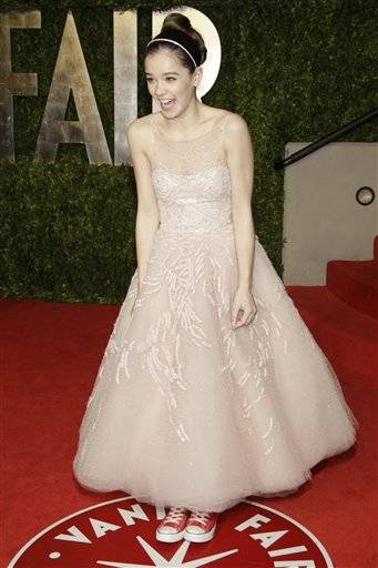Hailee Steinfeld arrives at the Vanity Fair Oscar Party at the Sunset Tower in Los Angeles, Calif., Sunday.
