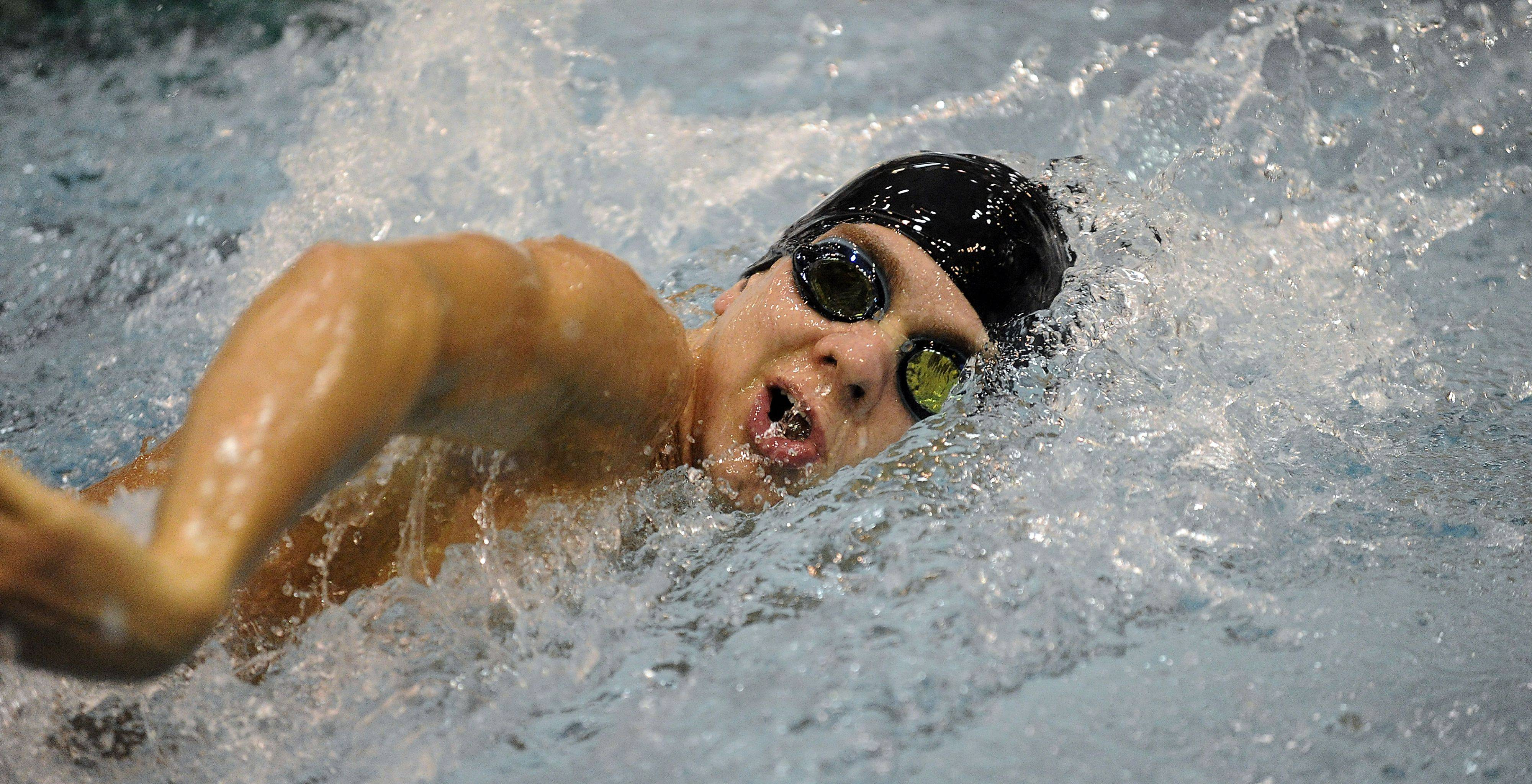 Barrington's Leo Hayden in the 200-yd freestyle race Friday during the state swimming preliminaries.