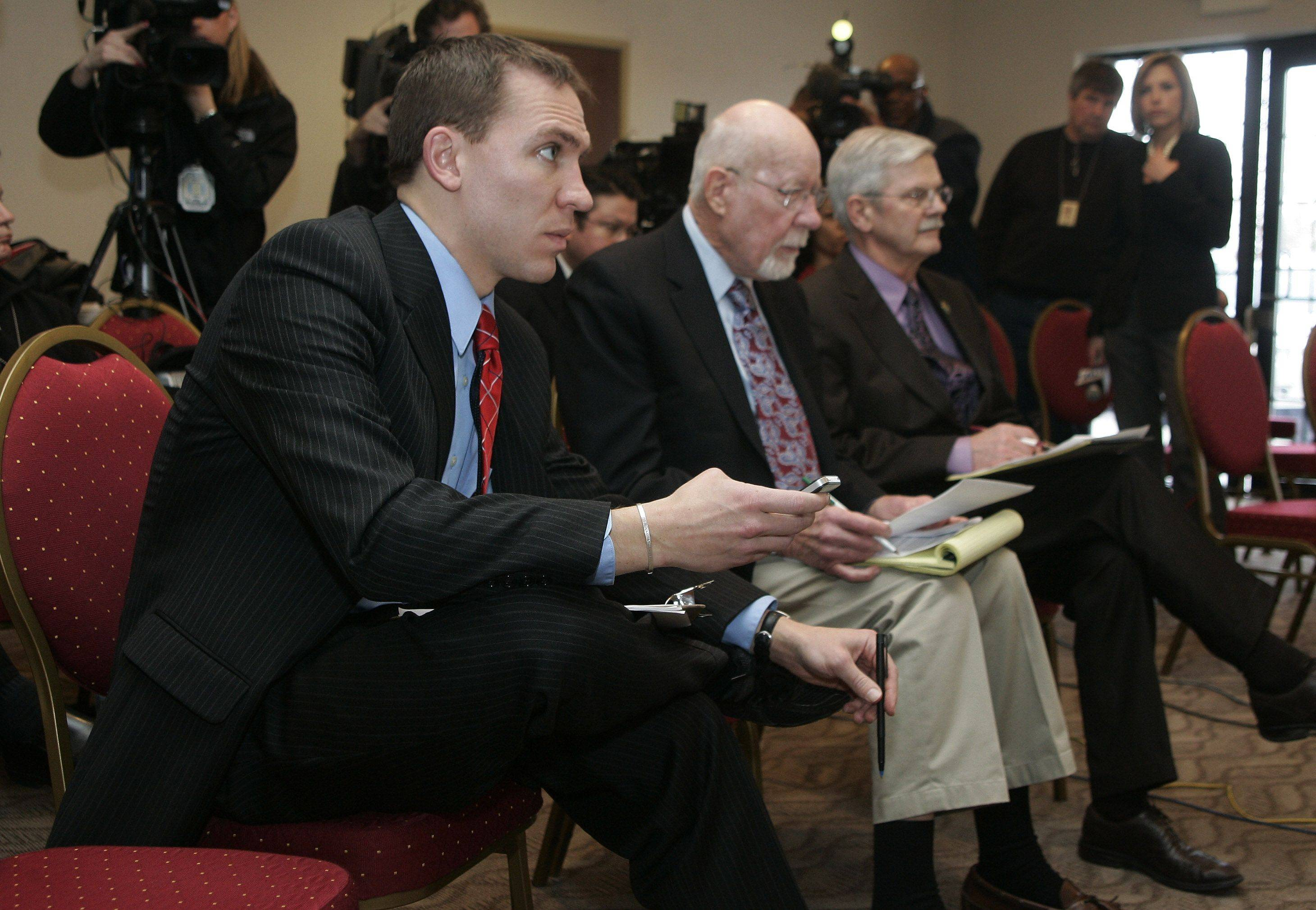 AWOL Wisconsin Democratic state senators Chris Larson, left, and Mark Miller gathered at Grayslake's Comfort Suites to watch Gov. Scott Walker give a budget speech to the legislature Tuesday.