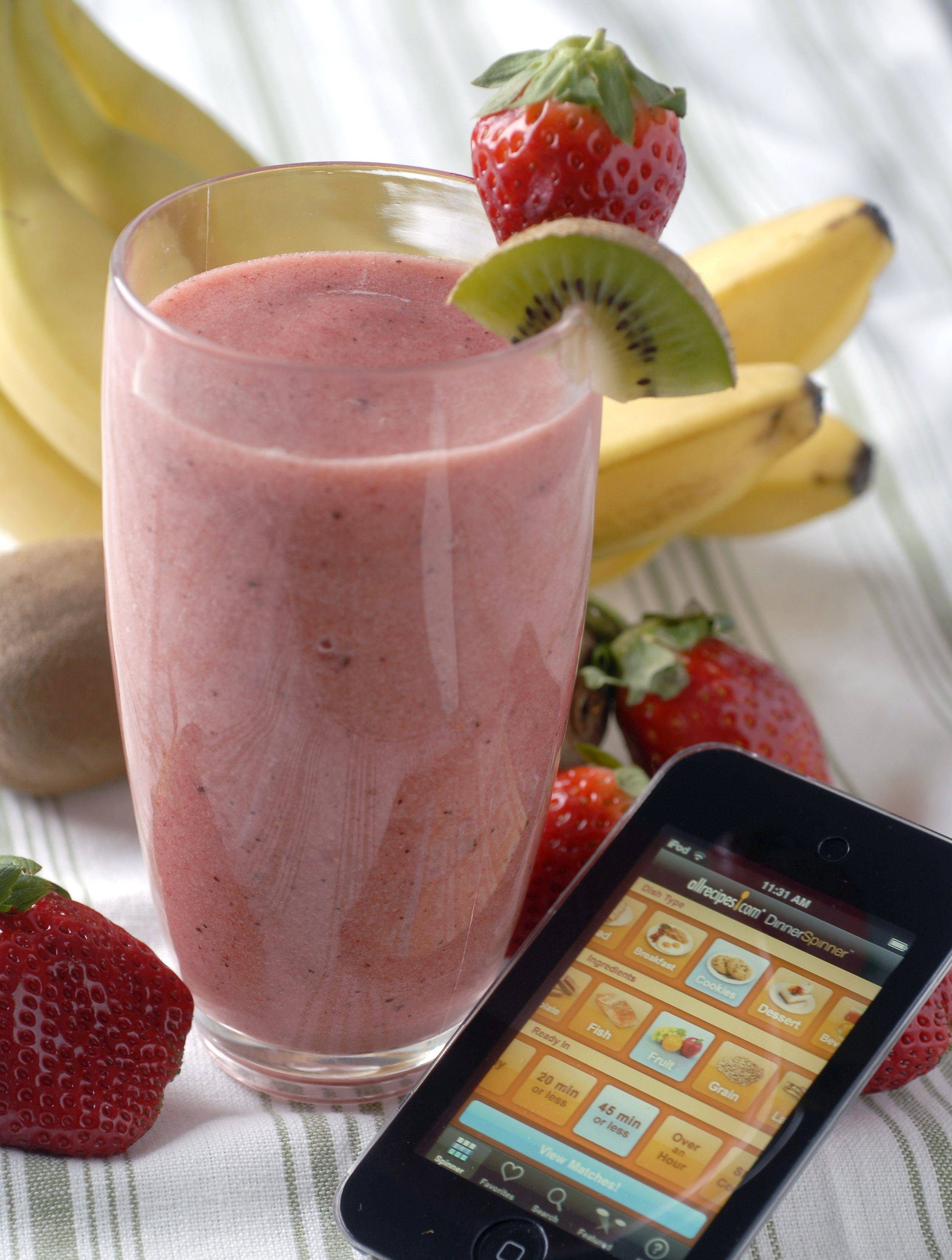 This smoothie recipe was found using the Healthy Recipes application. Pictured is the Dinner Spinner application from allrecipes.com.