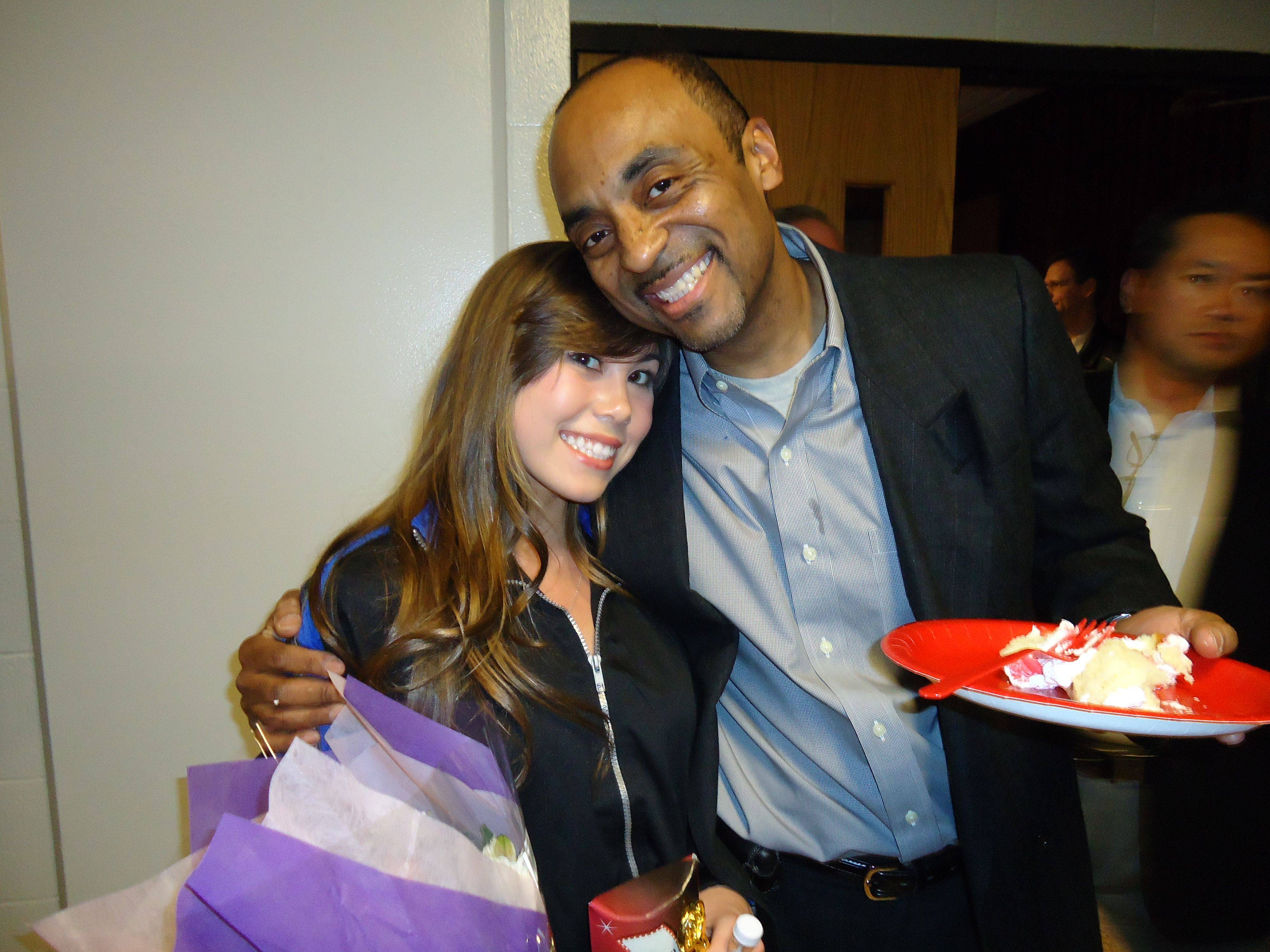 "Rachael Cruz gets a hug from ""The Good Time Kids"" producer Eric C. Taylor during the TV show's premiere party last weekend at Proviso West High School."