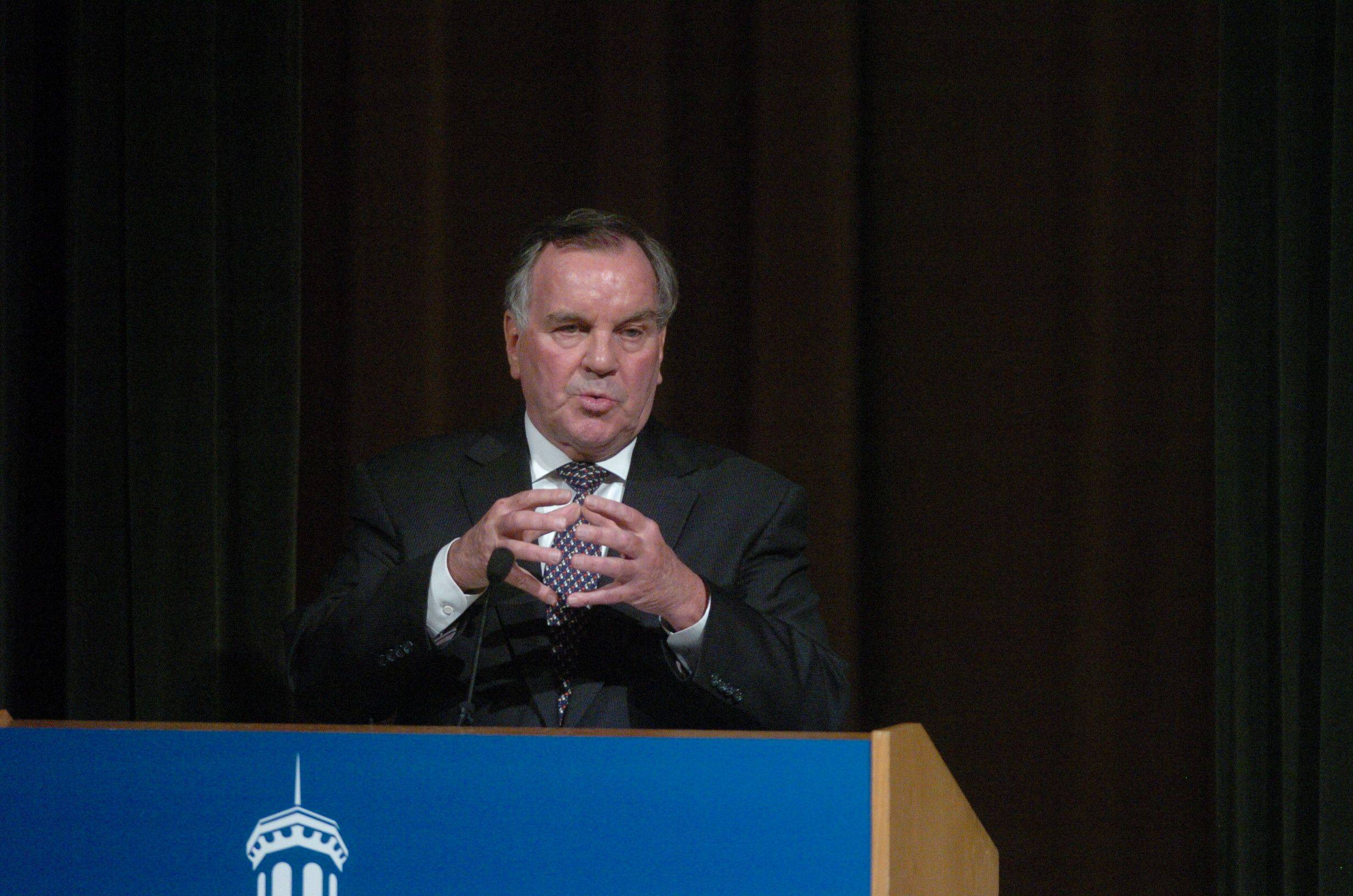 """We have to have confidence that we can compete with people if we all sacrifice a little bit for the common good,"" Richard Daley told Wheaton College students."