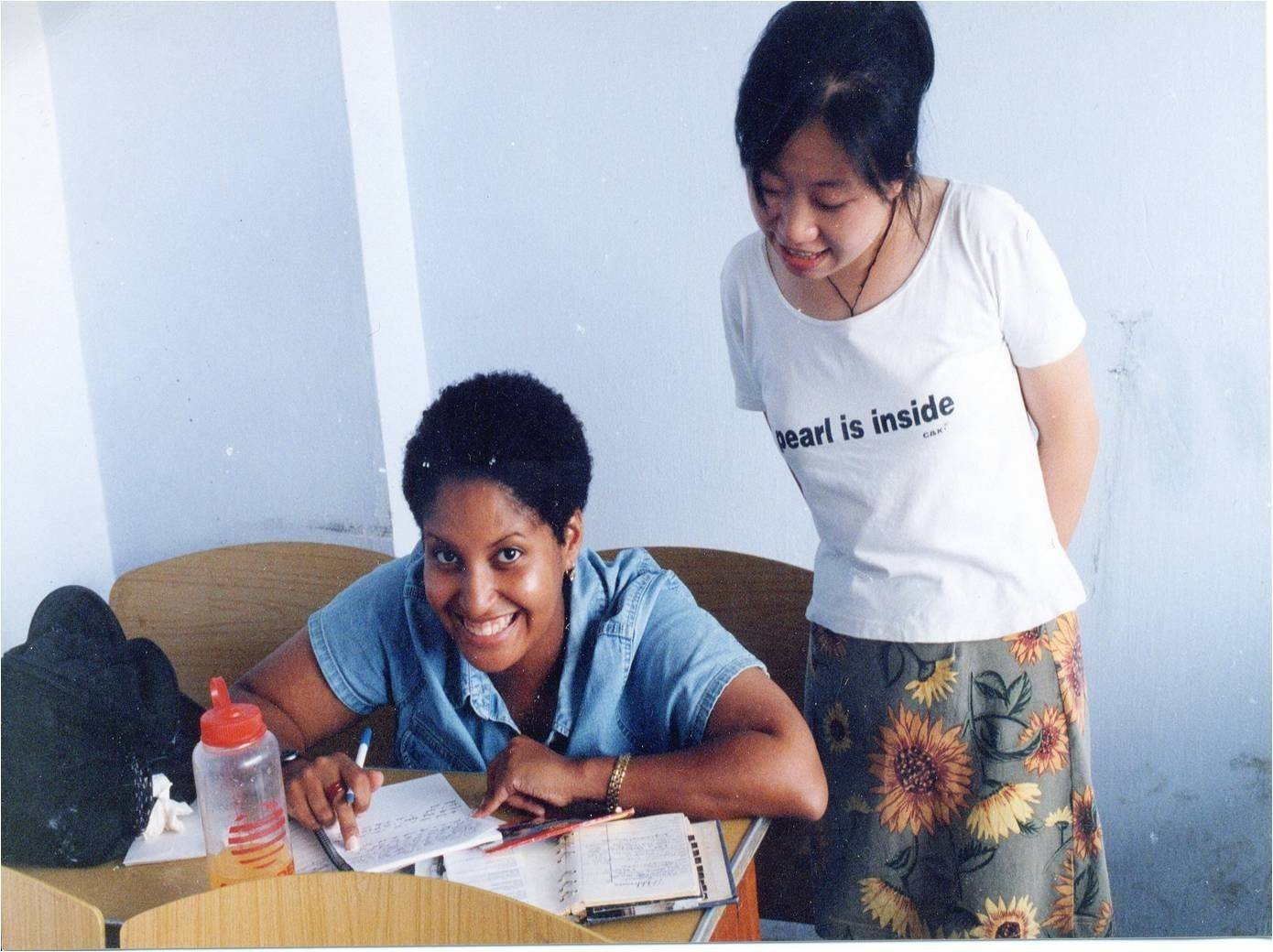 Kristie Smith with a student at a teaching seminar in Chengdu.