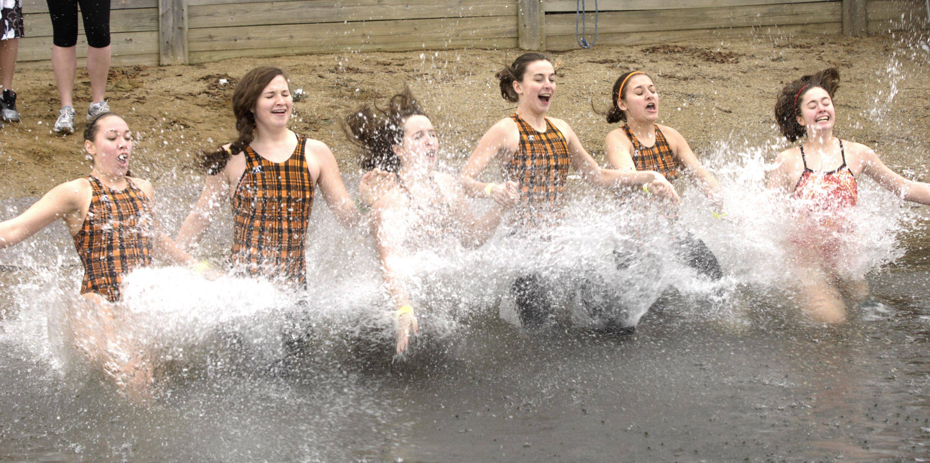Members of the Hersey High School water polo team participate in the 2011 Special Olympics Law Enforcement Torch Run Polar Plunge at Twin Lakes recreation area in Palatine.