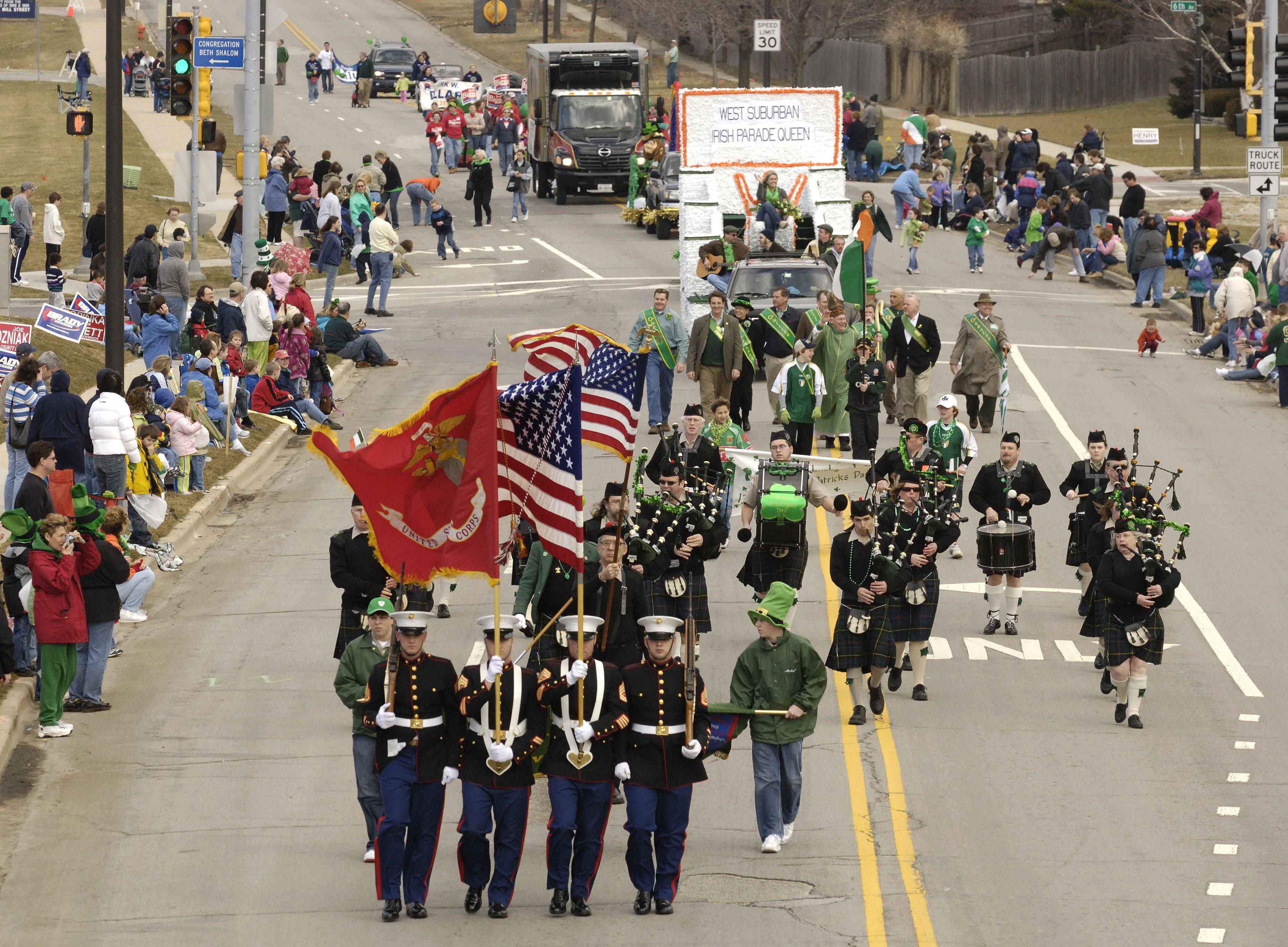 The annual West Suburban Irish St. Patrick's Day Parade will march in Naperville on Saturday.