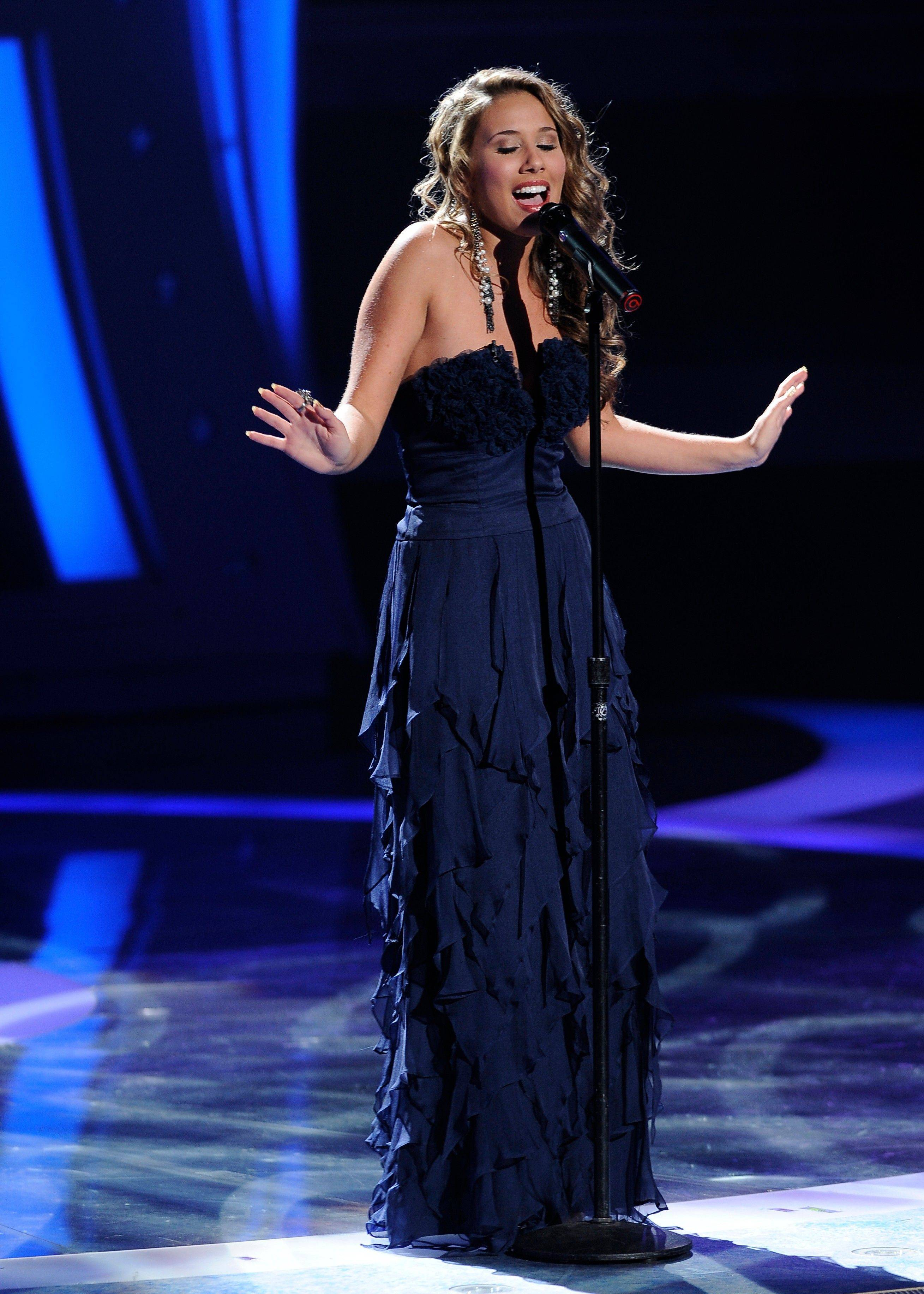 "Wheeling native Haley Reinhart performs ""Blue"" in front of the judges Wednesday night on ""American Idol."""