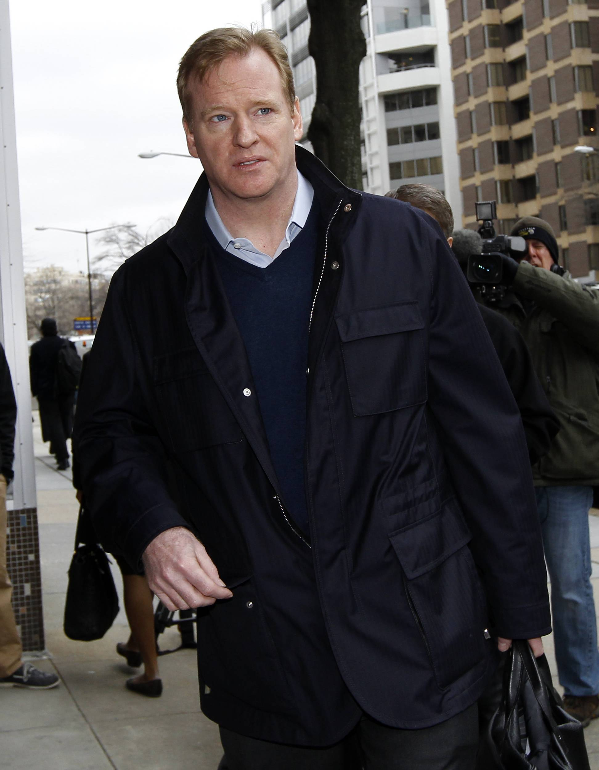Roger Goodell, NFL commissioner, arrives for negotiations with the NFL Players Association involving a federal mediator in Washington, Wednesday.