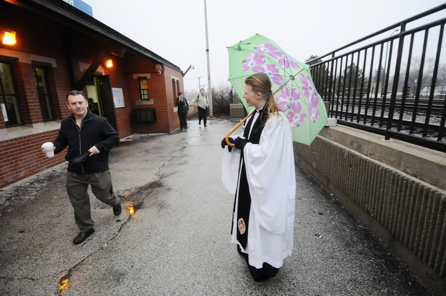 Not everyone has time to stop for ashes before their train arrived, but Rev. Emily Mellott, of Calvary Episcopal Church in Lombard stands ready for those who do.