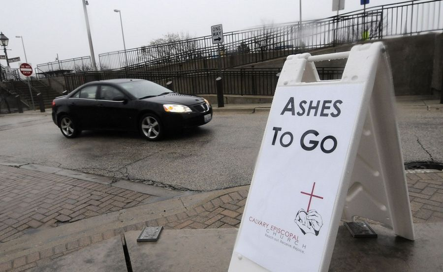 A program offered by Calvary Episcopal Church in Lombard called Ashes To Go, gave ashes to commuters Wednesday at Lombard's Metra station.