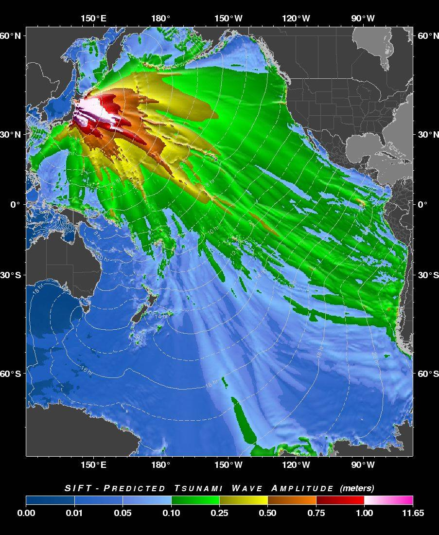 "This image provided by the Pacific Tsunami Warning Center shows a ""tsunami forecast model"" created by the Pacific Tsunami Warning Center in Ewa Beach, Hawaii predicting the wave height of the tsunami generated by the Japan earthquake Friday. The Hawaii's islands are located at the edge of the yellow pattern, but waves could be higher along the coastline when the tsunami arrives."