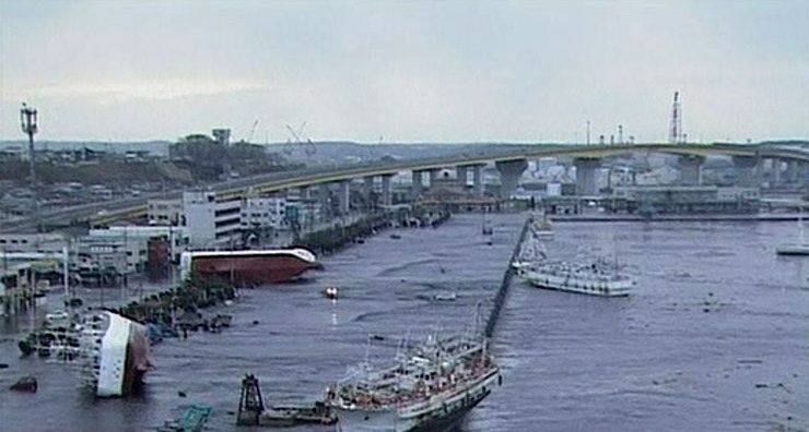 n this video image taken from Japan's NHK TV, ships and boats are washed ashore in Hachinohe, Aomori Prefectur, Japan Friday.