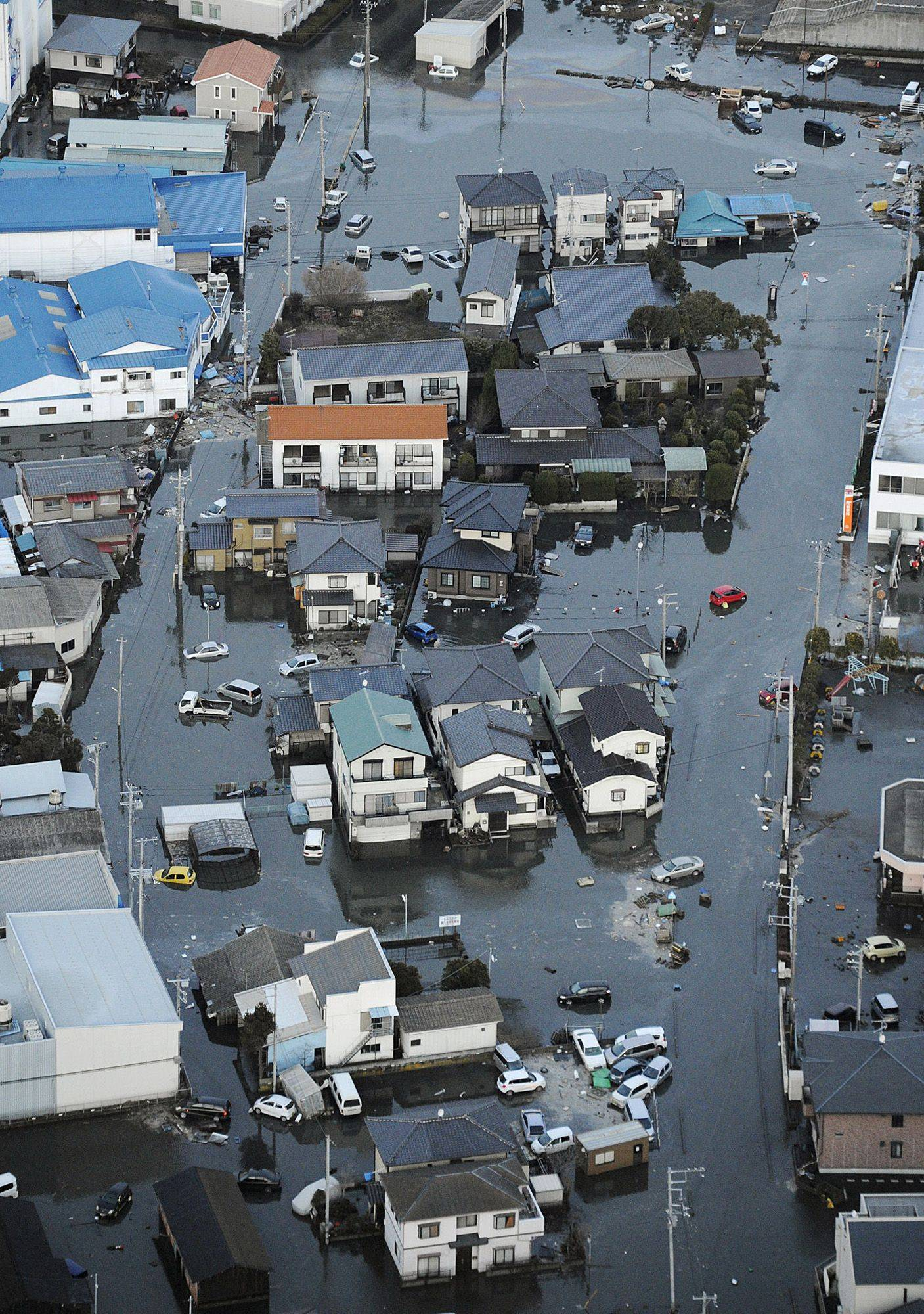 Oarai town is submerged after a tsunami in Ibaraki prefecture (state), Japan.