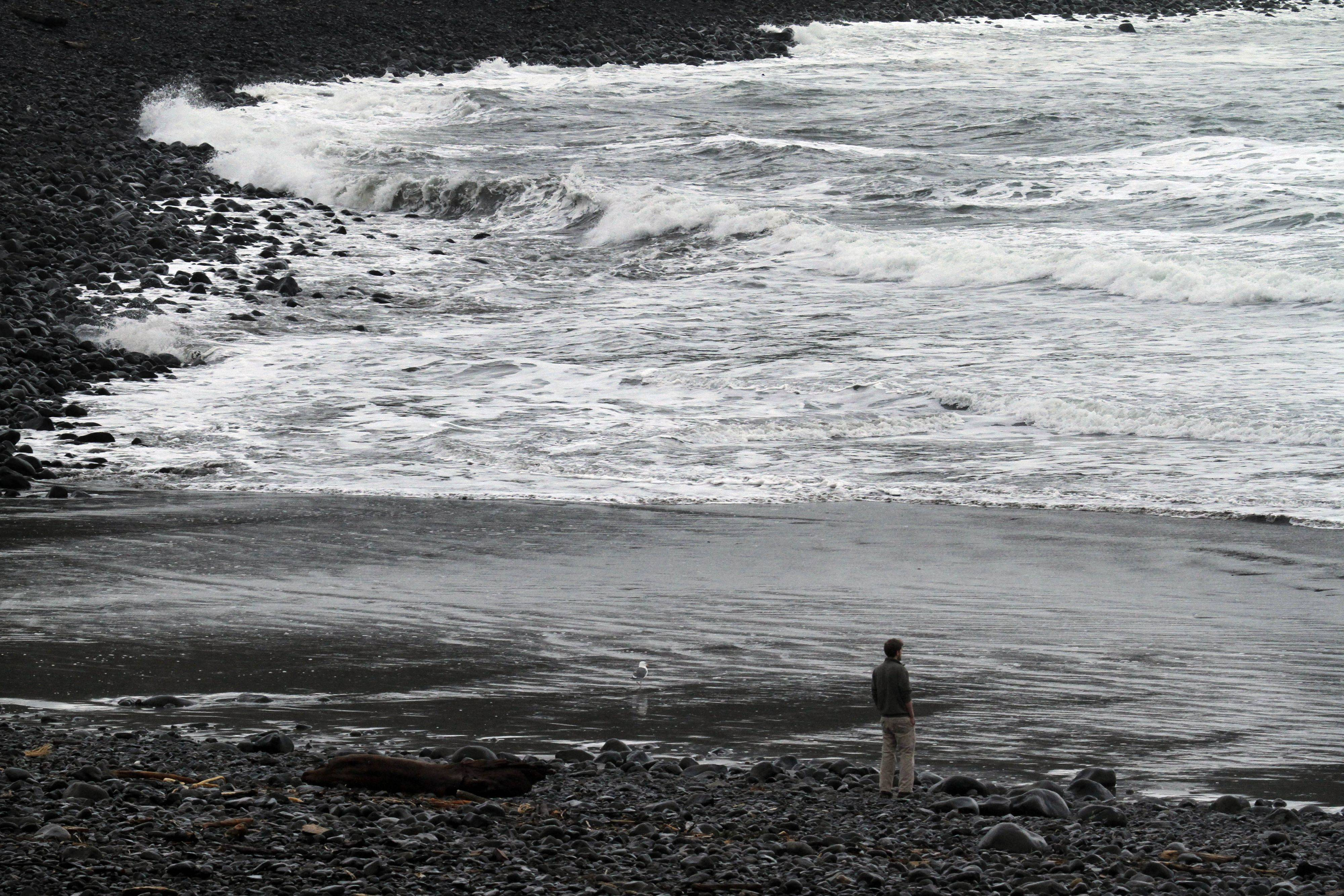 A lone person stands on the beach and watches as a surge from a tsunami from the Japanese earthquake hits the rocky coast in Seaside, Ore., Friday, March, 11, 2011.