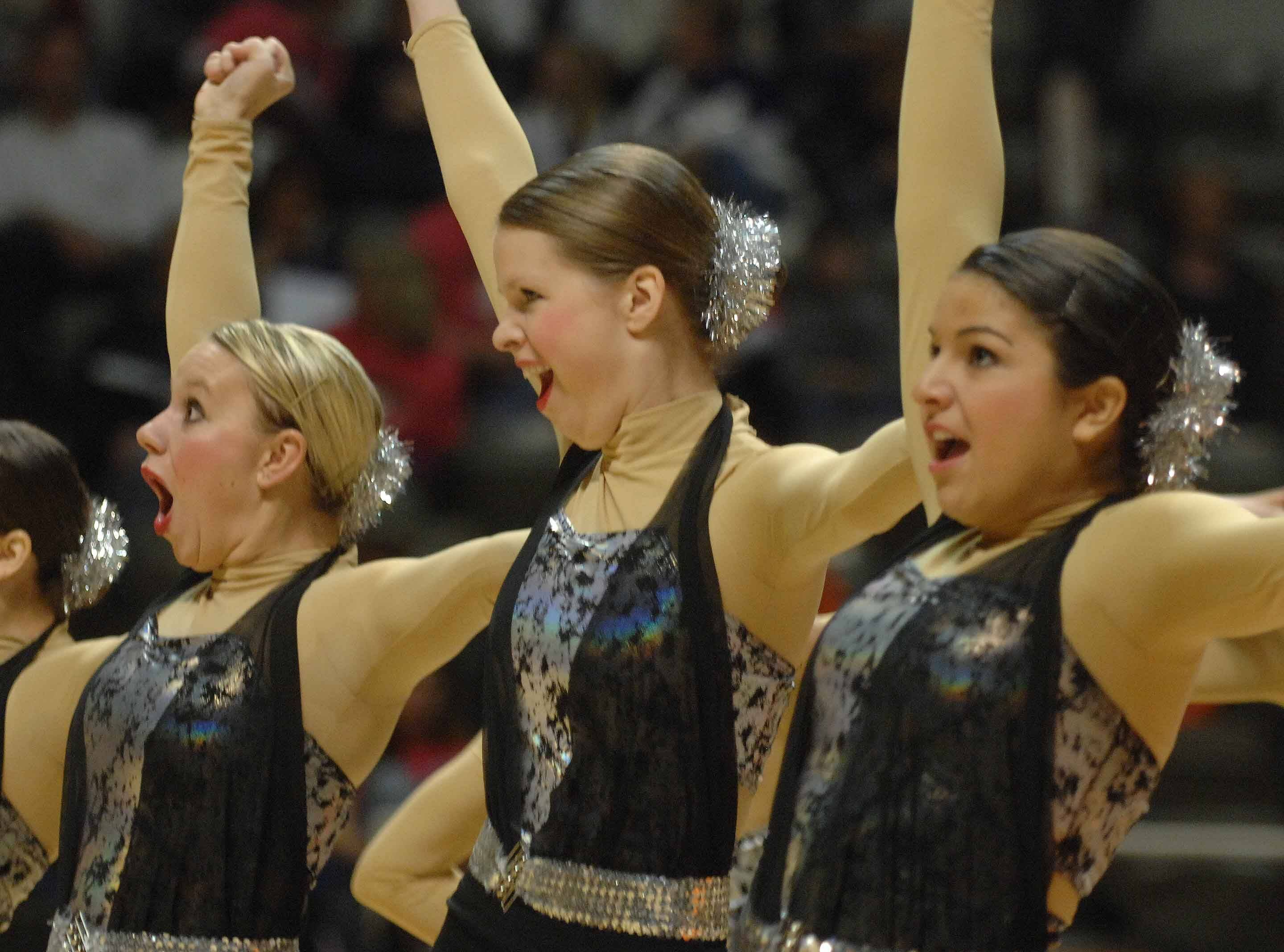 The Hinsdale South Kick team takes part in the Illinois Drill Team Association State Finals in Champaign Saturday.