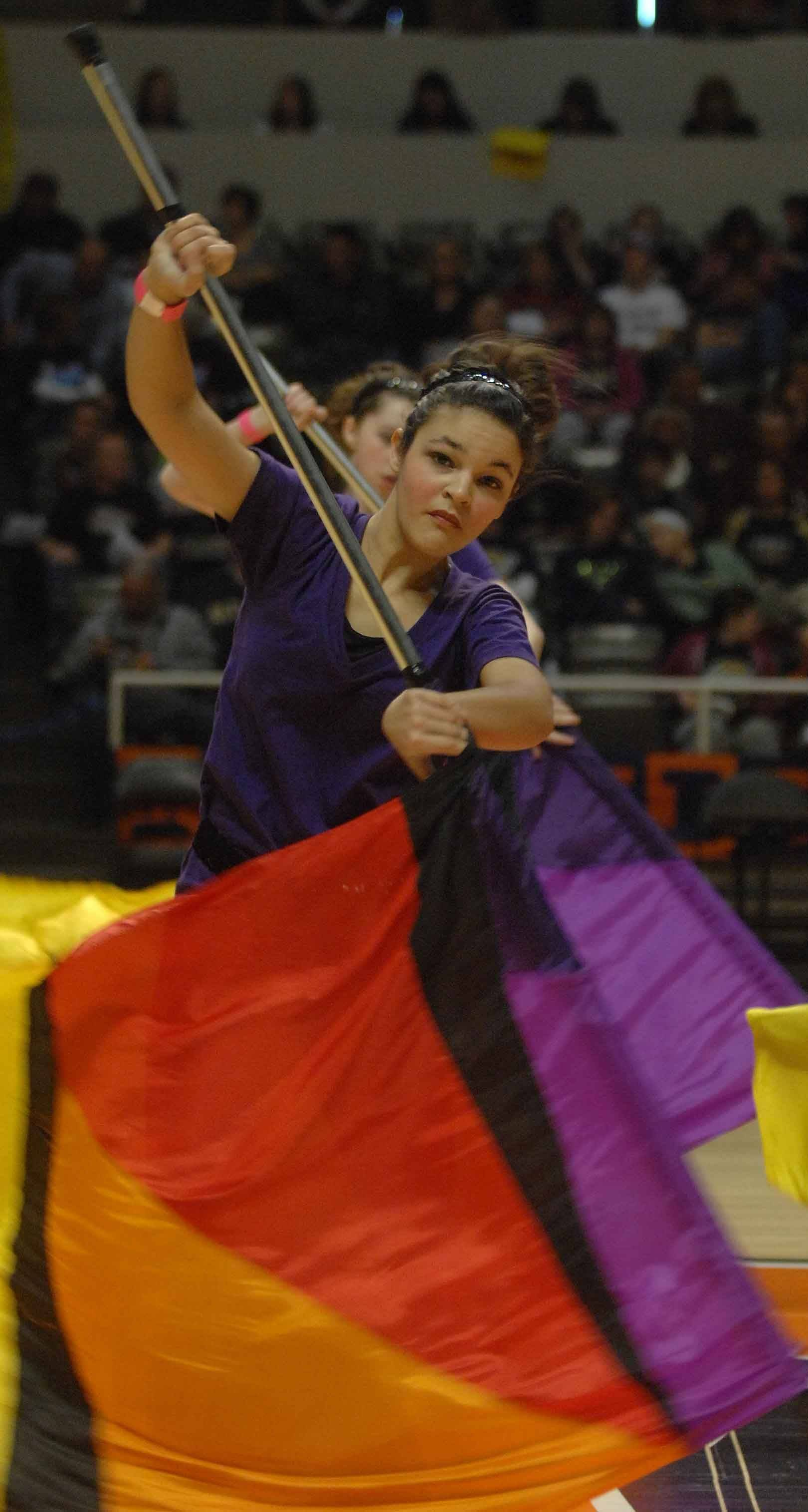 The St. Charles East flag team takes part in the Illinois Drill Team Association State Finals in Champaign Saturday.
