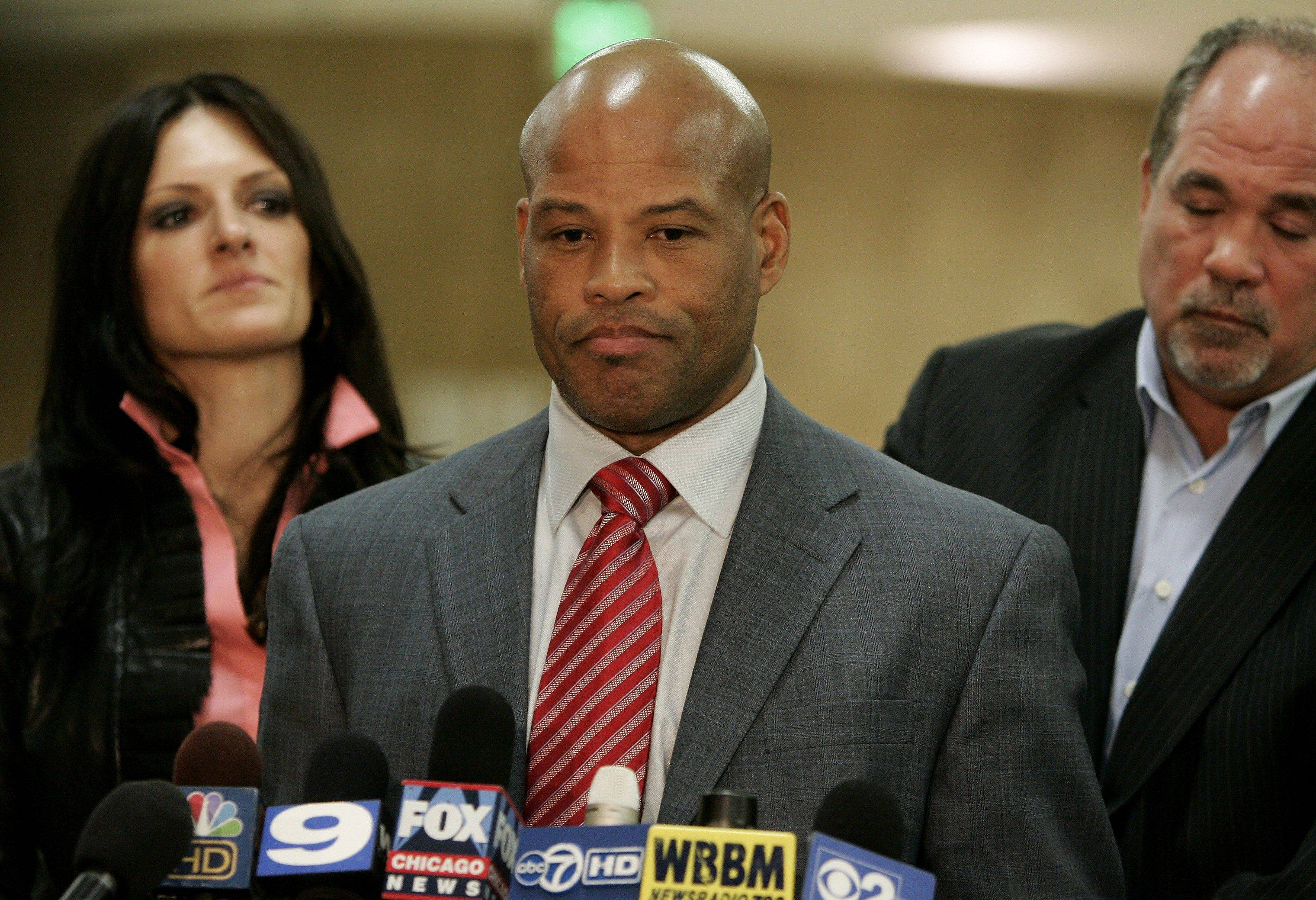 Former Chicago Bears safety Shaun Gayle pauses Tuesday as he discusses the guilty verdict in the Marni Yang trial at the Lake County courthouse in Waukegan.
