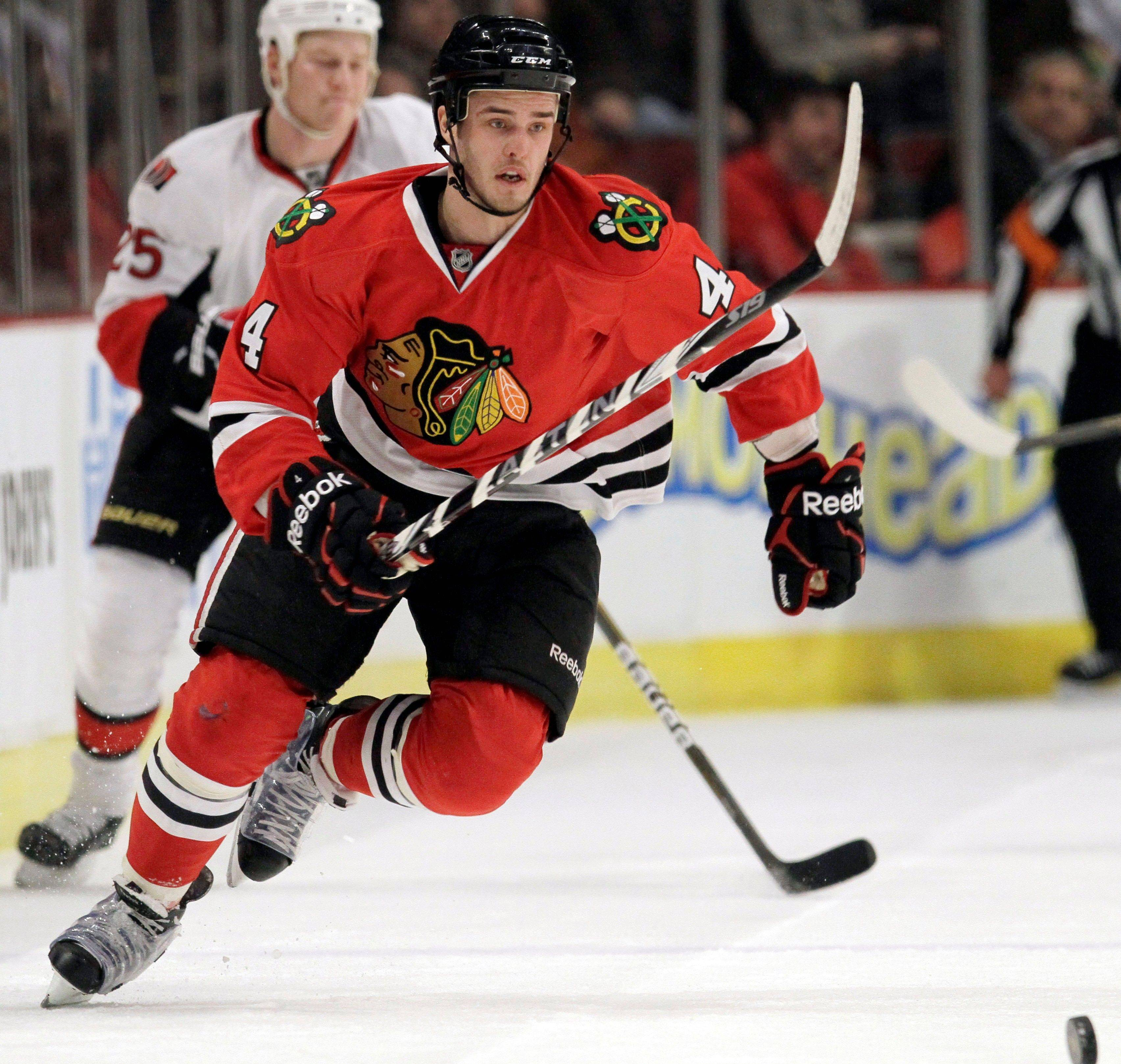 He regularly skips practices due to the beating his body takes in games, but Blackhawks defenseman Niklas Hjalmarsson continues to lead the team in blocked shots.