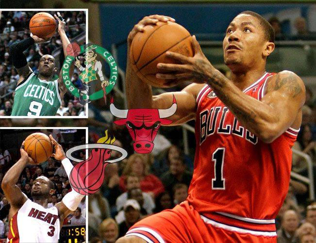 Derrick Rose of the Bulls, Rajon Rondo of the Celtics, and Dwyane Wade of the Heat lead their teams in a three-team race for first in the East.
