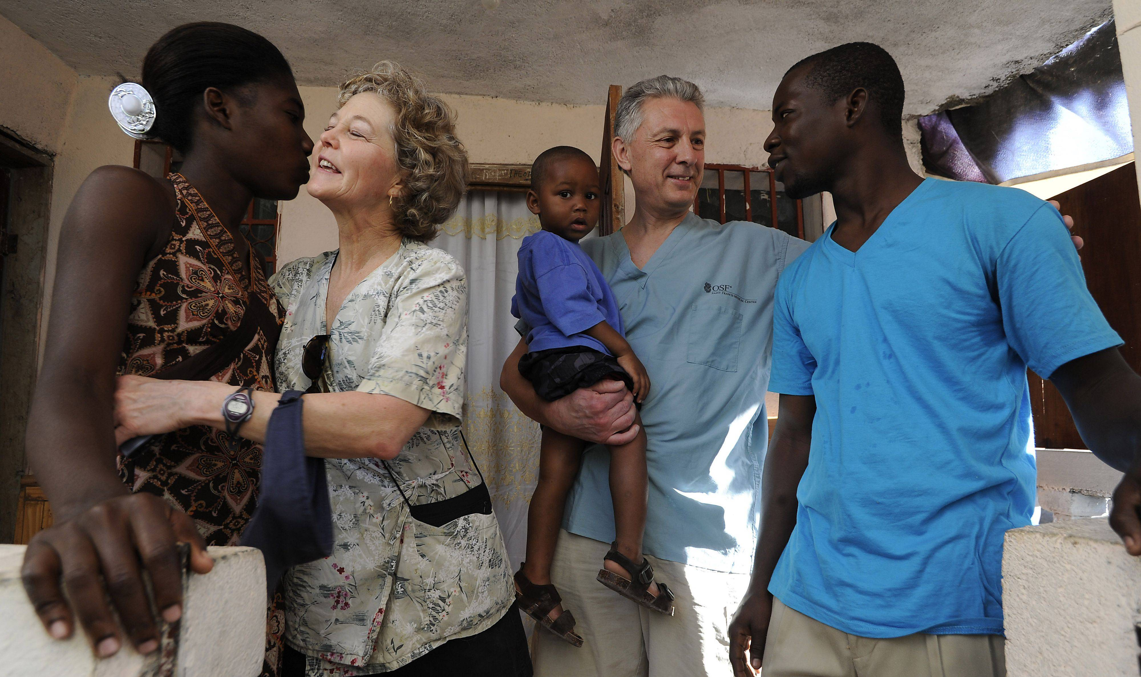 One big happy family in Jacmel, Haiti, with Loucite Charles, Trudy Vogel, Godson, Paul Vogel and Gesnel Augustine saying goodbye for another year, until the Vogel comes back next year.