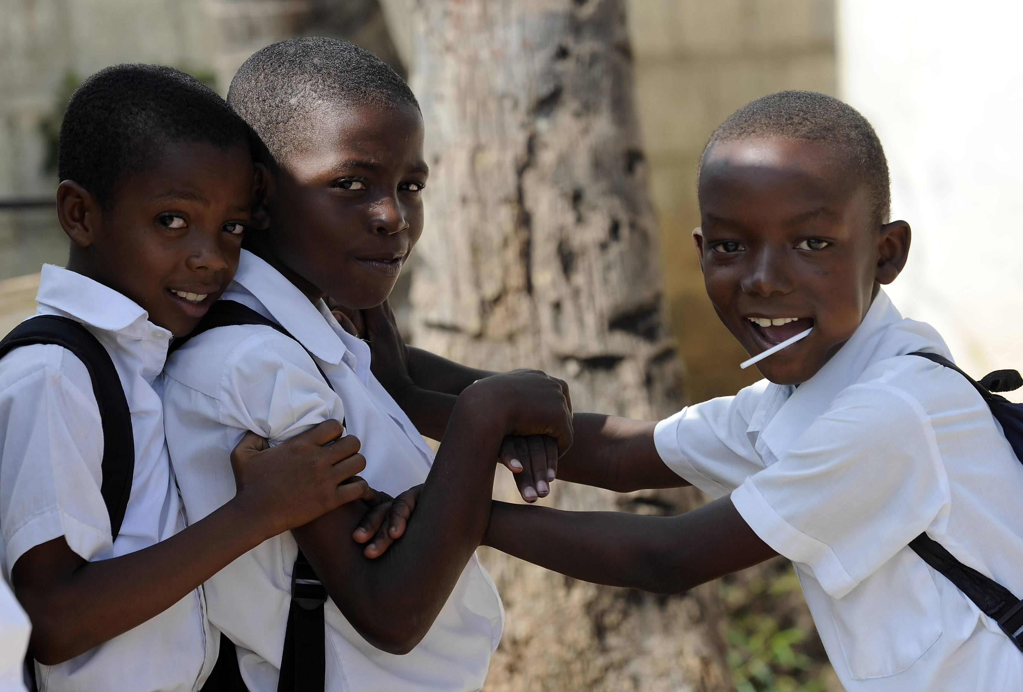 Haitian children play after school in Jacmel, Haiti.