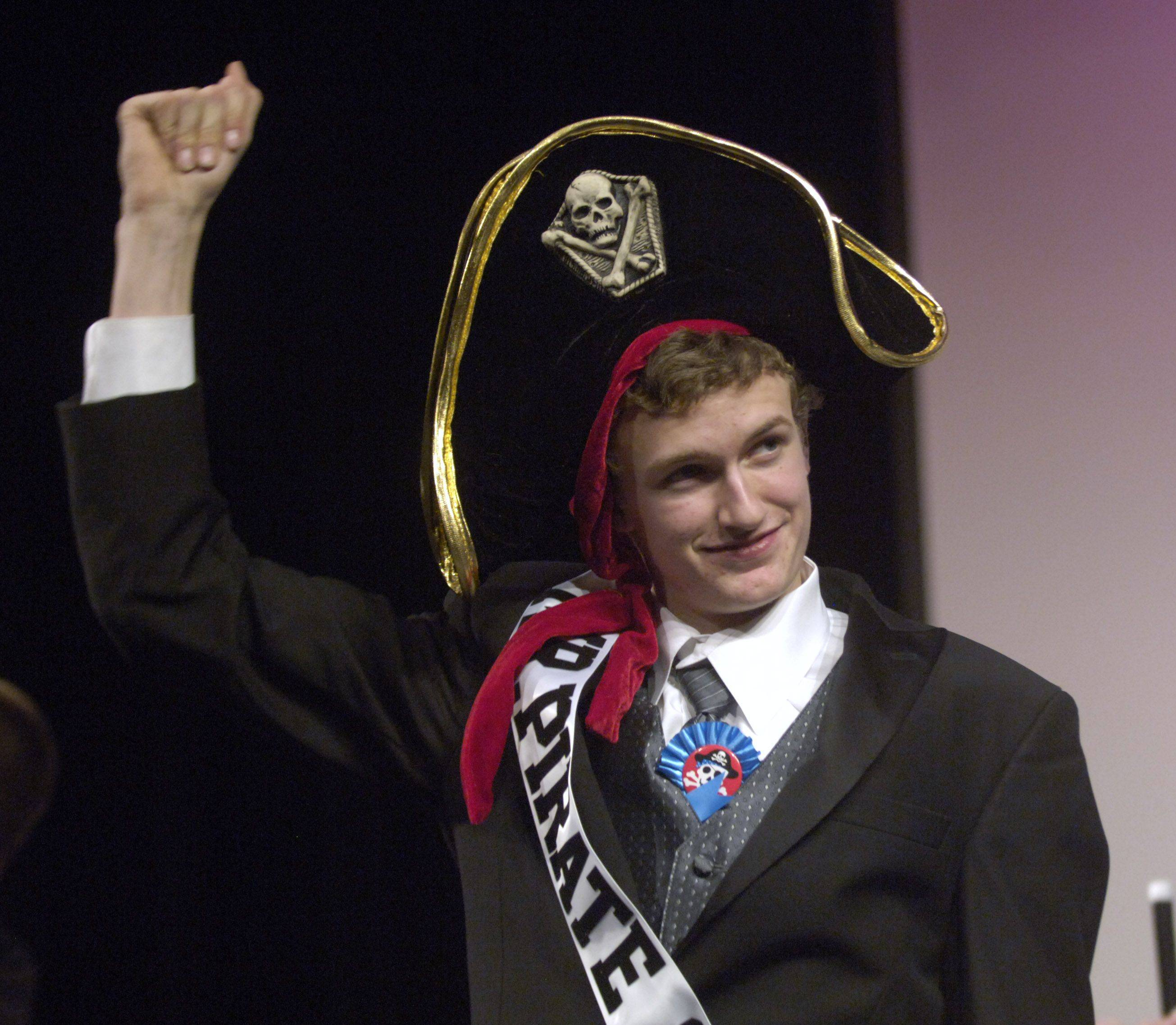 Joe Daumen wins the Mr. Pirate contest at Palatine High School Tuesday.