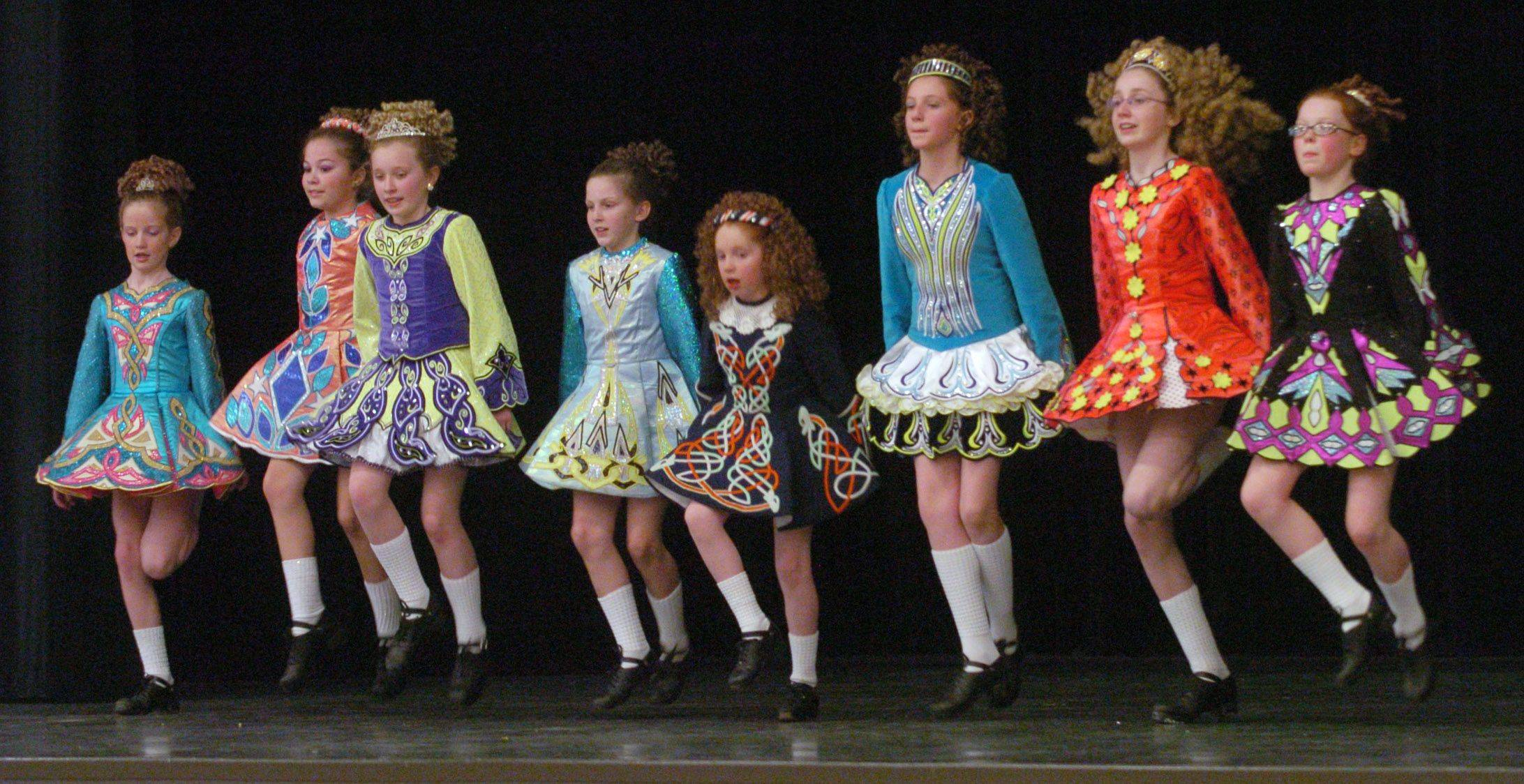 Dancers from Mullane-Healy-Godley School of Irish Dance perform during an assembly at St. James School Thursday in Arlington Heights.