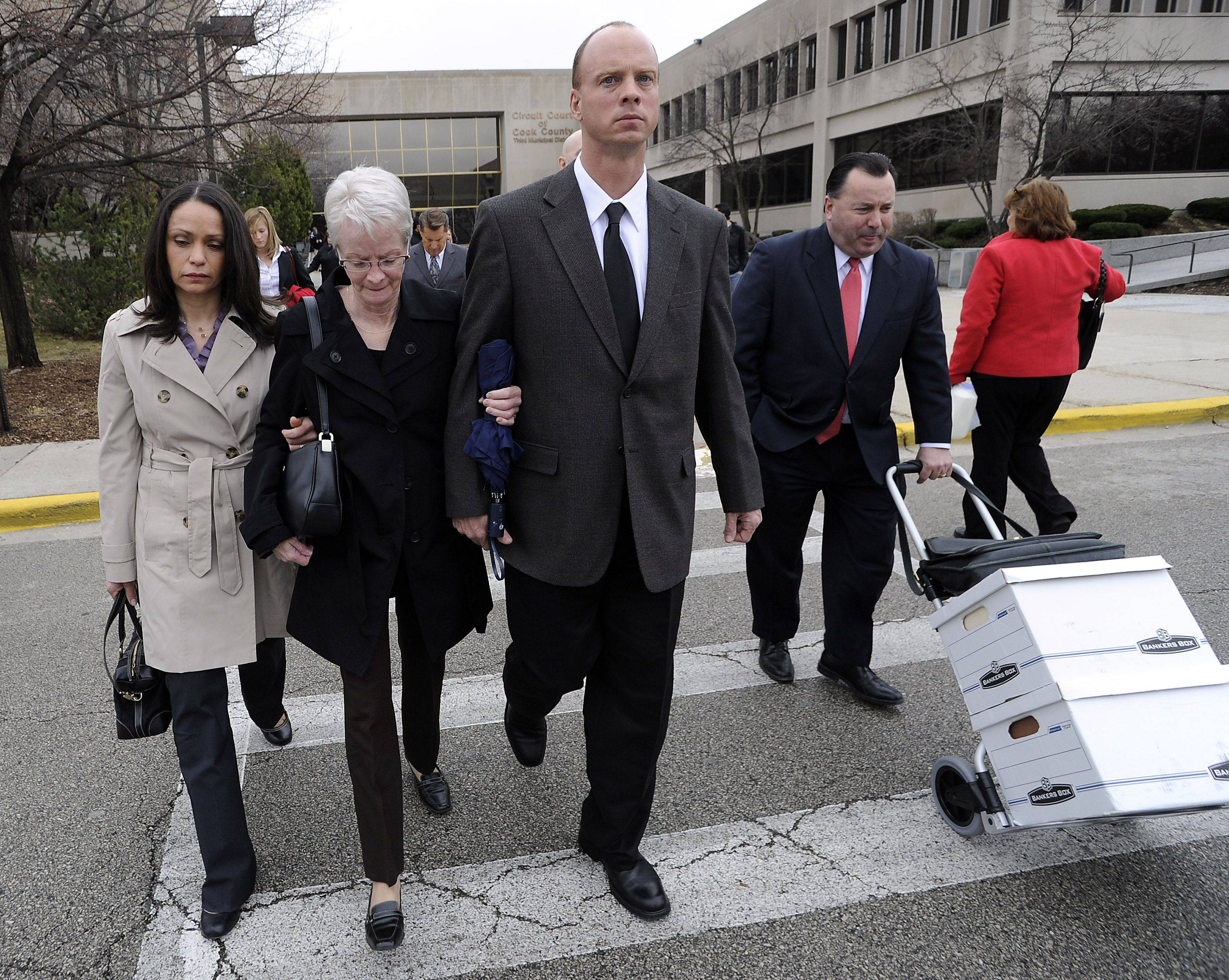 Nice James Mandarino, Center, Walks Out Of The Rolling Meadows Courthouse After  Closing Arguments In