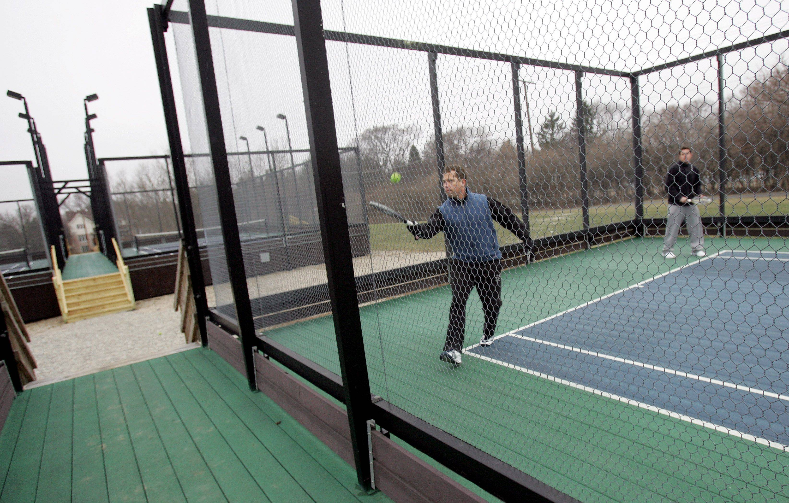 Glen Ellyn Platform Tennis Club players, including Ryan Snyder and Joe Cohn, may get a warming hut soon, which would be built between the four courts.