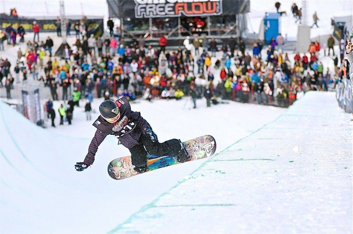Kirby Kelly does a Frontside 540 in a superpipe competition in Ogden, Utah, on Jan. 23.