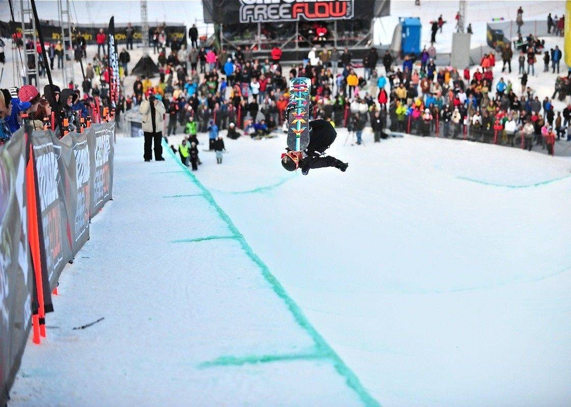 Kirby Kelly does a McTwist in a superpipe competition in Ogden, Utah, on Jan. 22.