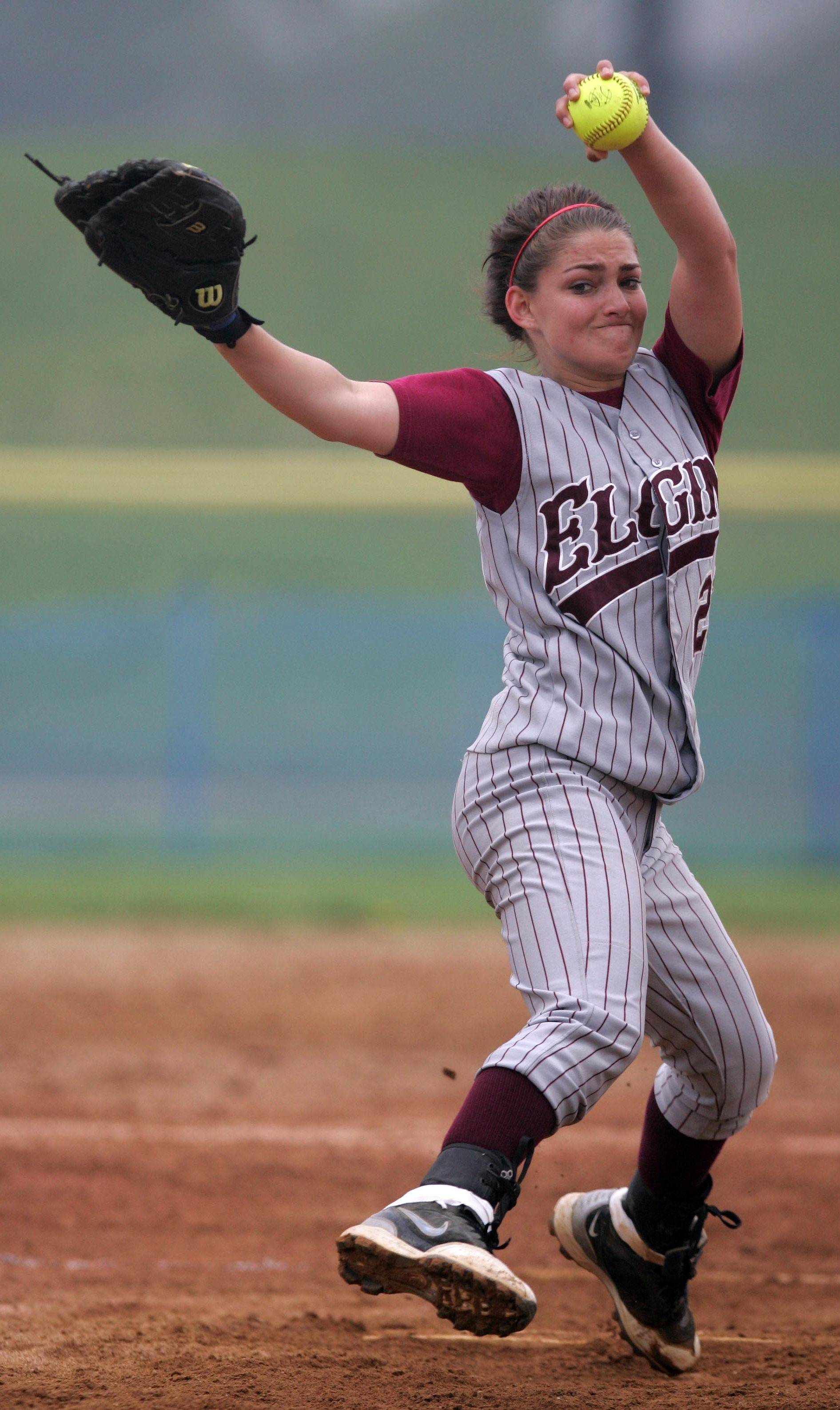Elgin junior Hannah Perryman is one of the top returning pitchers in the area this season and one of several pitchers in U-46 with solid varsity experience.