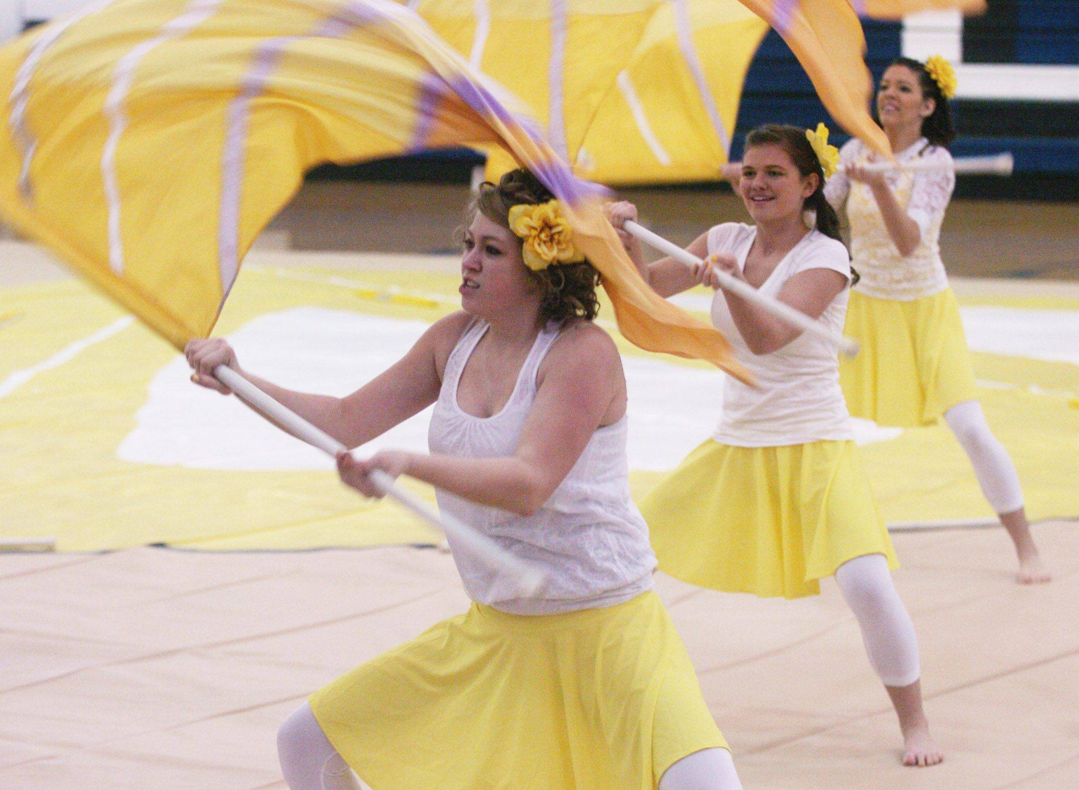 The team from Jacobs High School competes Saturday during the Midwest Color Guard Circuit Contest at Lake Park High School's West Campus in Roselle.