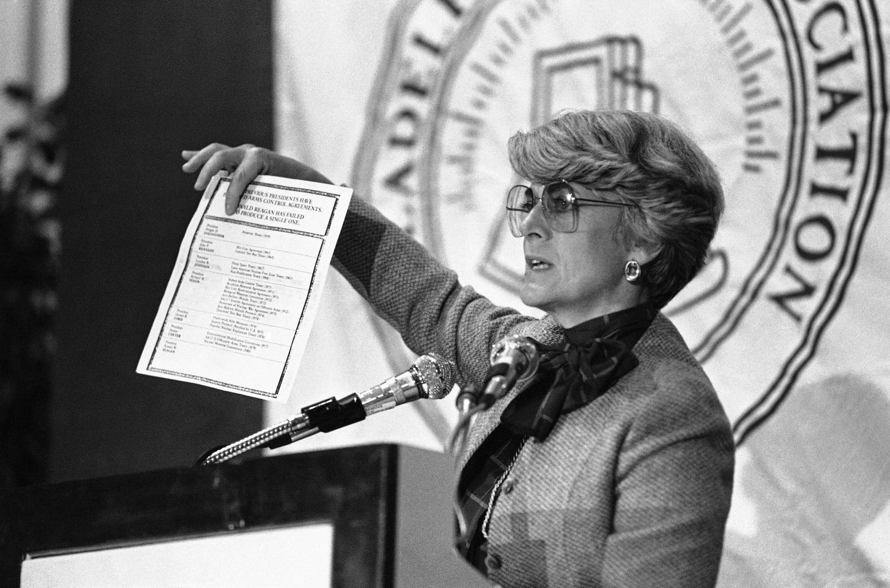 In this Tuesday, Sept. 18, 1984 file picture, Democratic vice presidential candidate Geraldine Ferraro holds up a document claiming President Ronald Reagan has failed to support a single arms control agreement which six previous U.S. presidents have. Ms. Ferraro, addressing the Young Lawyers, Division of the Philadelphia Bar Association said Reagan�s policies have led to an �arms control gridlock� that does not reduce the risk of nuclear war. The first woman to run for U.S. vice president on a major party ticket has died. Geraldine Ferraro was 75. A family friend said Ferraro, who was diagnosed with blood cancer in 1998, died Saturday, March 26, 2011 at Massachusetts General Hospital.
