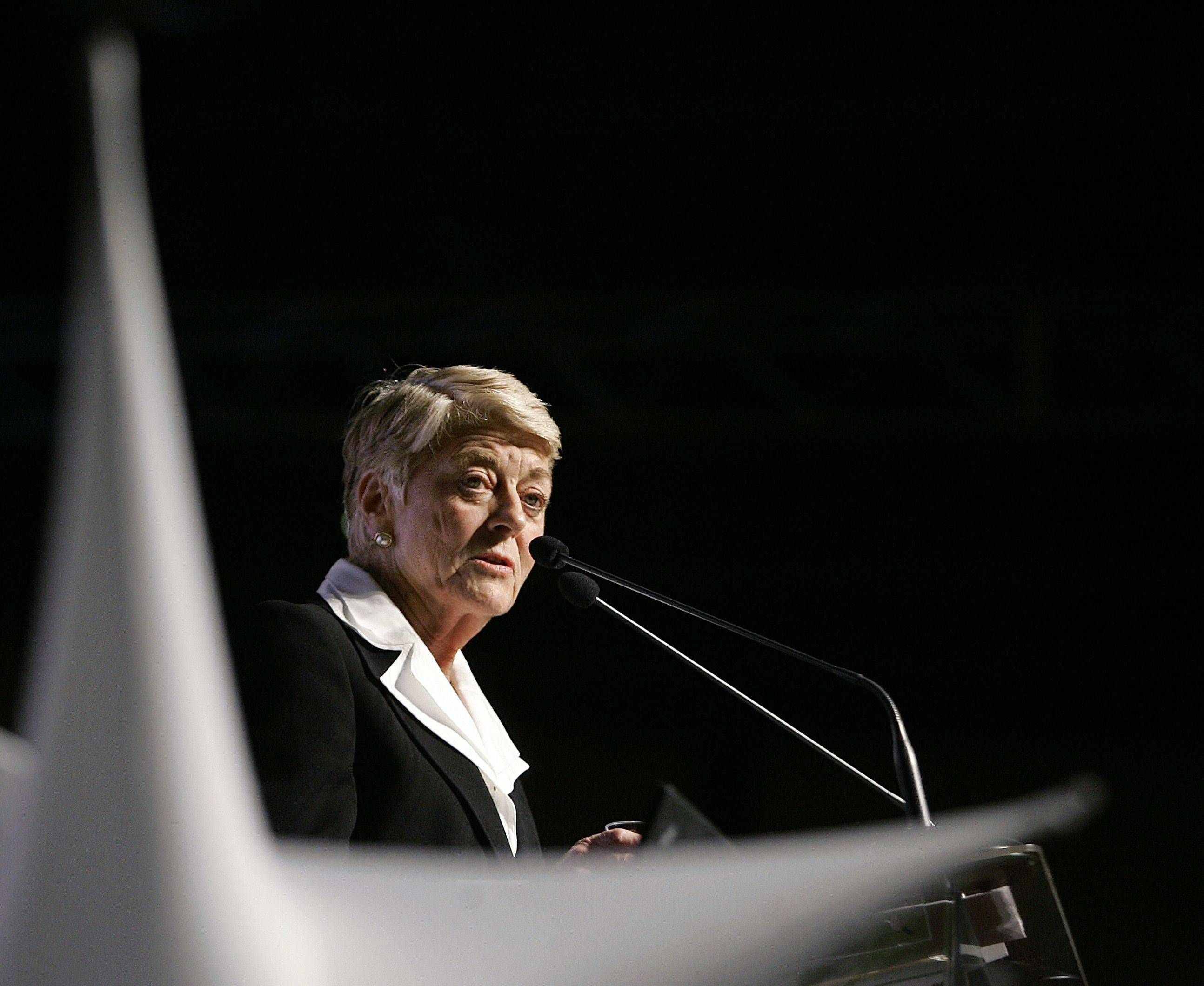 In this Thursday, March 13, 2008 file picture, former vice-presidential candidate Geraldine Ferraro address attendees at the Women's Summit 2008 on the Bryant University campus in North Smithfield, R.I. T