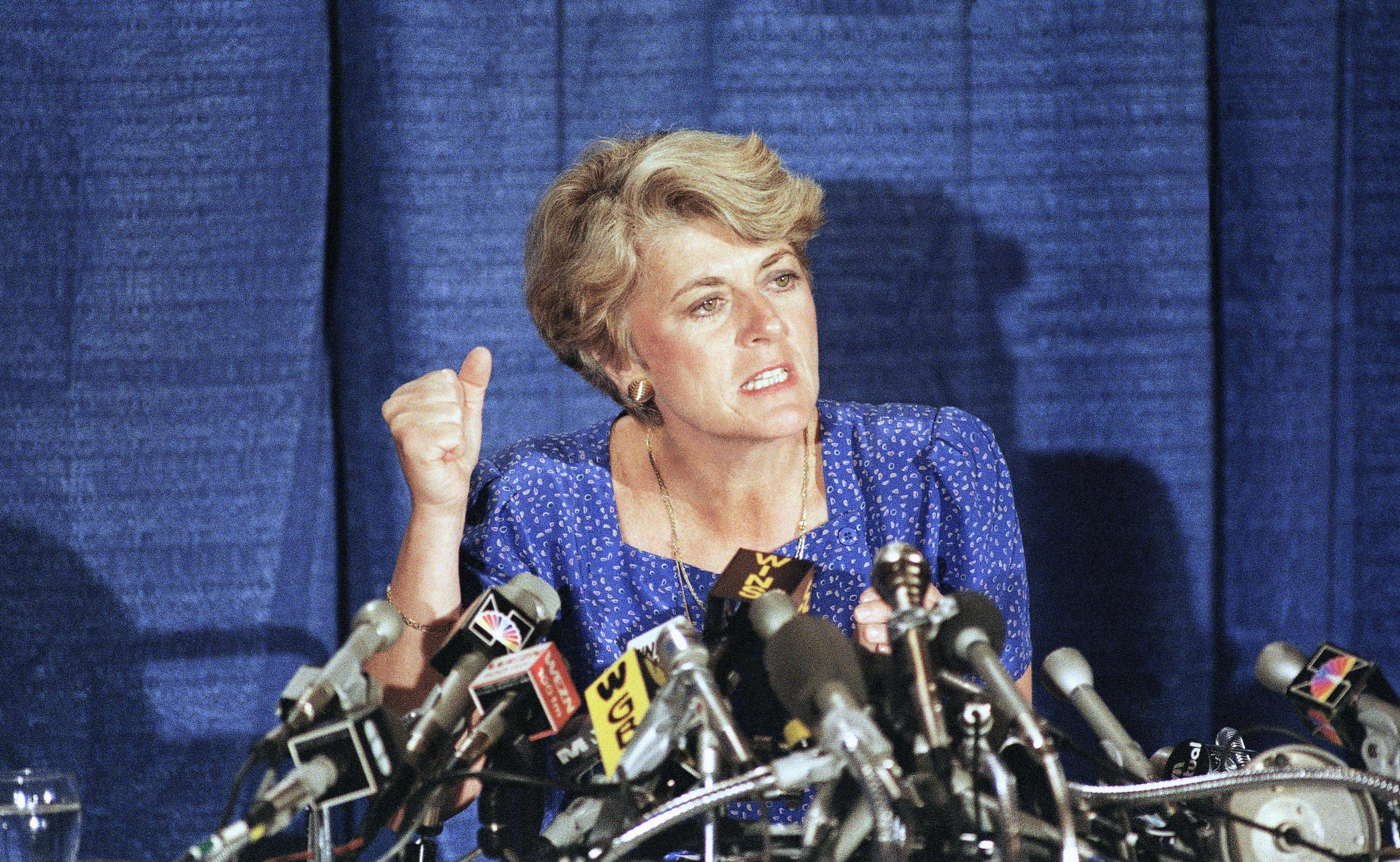 In this Aug. 21, 1984 file picture, Geraldine Ferraro explains the finances of herself and husband during a news conference in the Queens borough of New York.