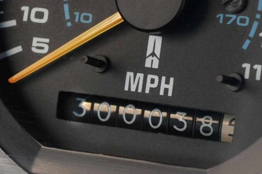 The odometer on Paul Brown's Olds shows the car has driven more than 300,000 miles.