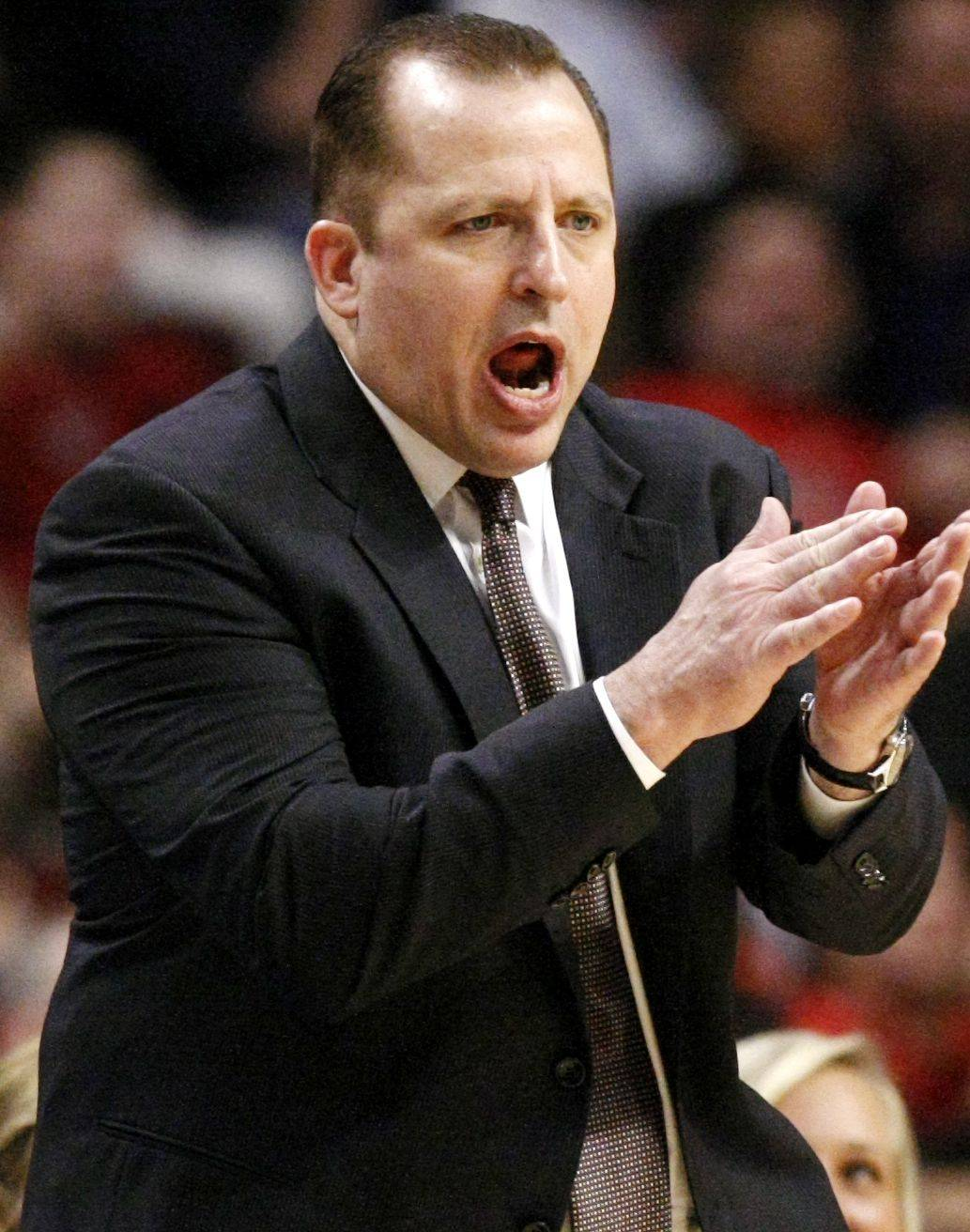 **ADVANCE FOR WEEKEND EDITIONS, MARCH 19-20 ** In this photo taken Friday, March 11, 2011, in Chicago, Chicago Bulls head coach Tom Thibodeau encourages his team during an NBA basketball game against the Atlanta Hawks. His players can't help but joke about it. They see the preparation, the hours their coach puts in and they wonder if Tom Thibodeau ever goes home.