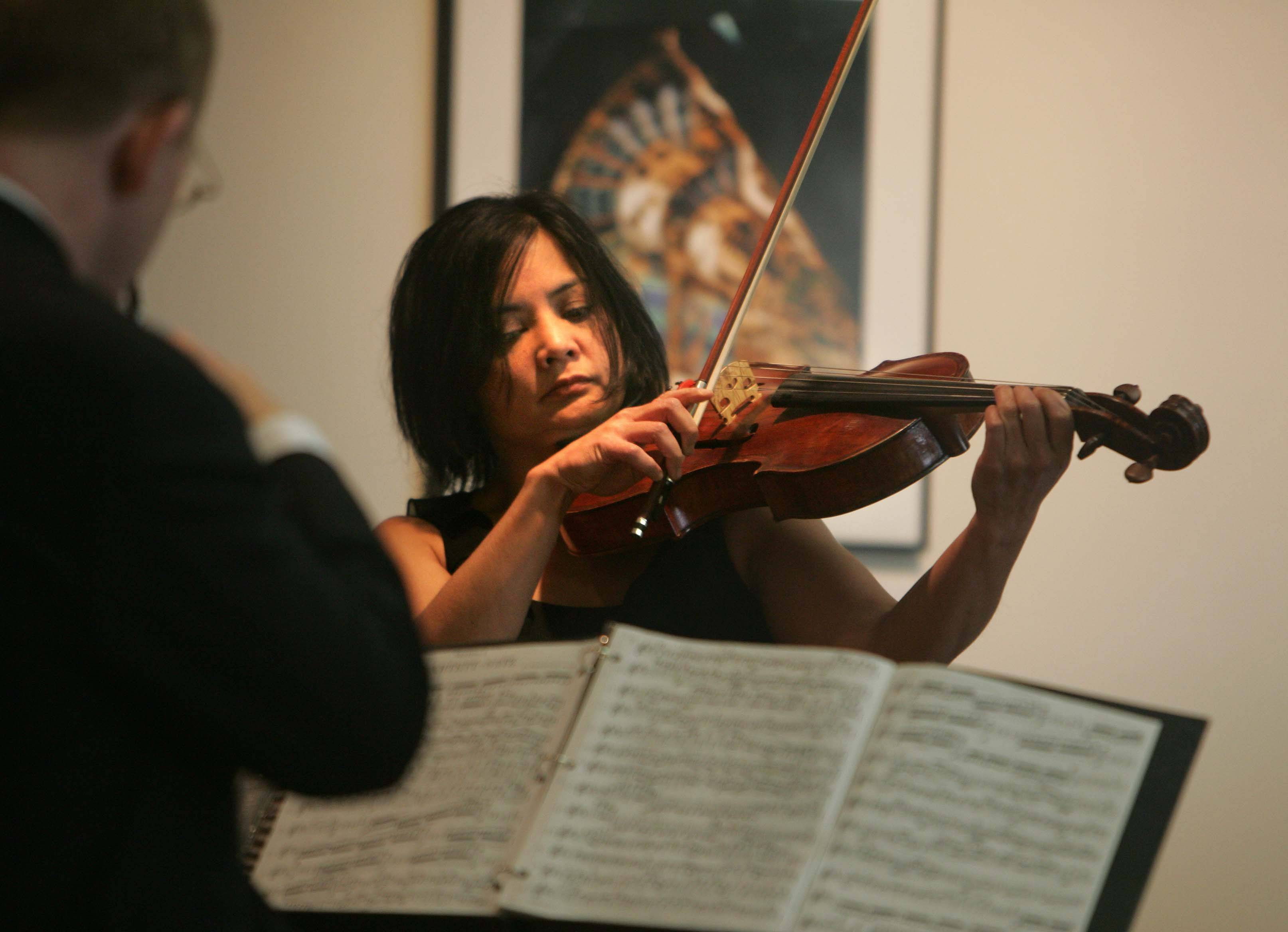 Joanna Mendoza and the rest of the Arianna String Quartet perform in Wilson Hall at Fermilab in Batavia Sunday, March 20.