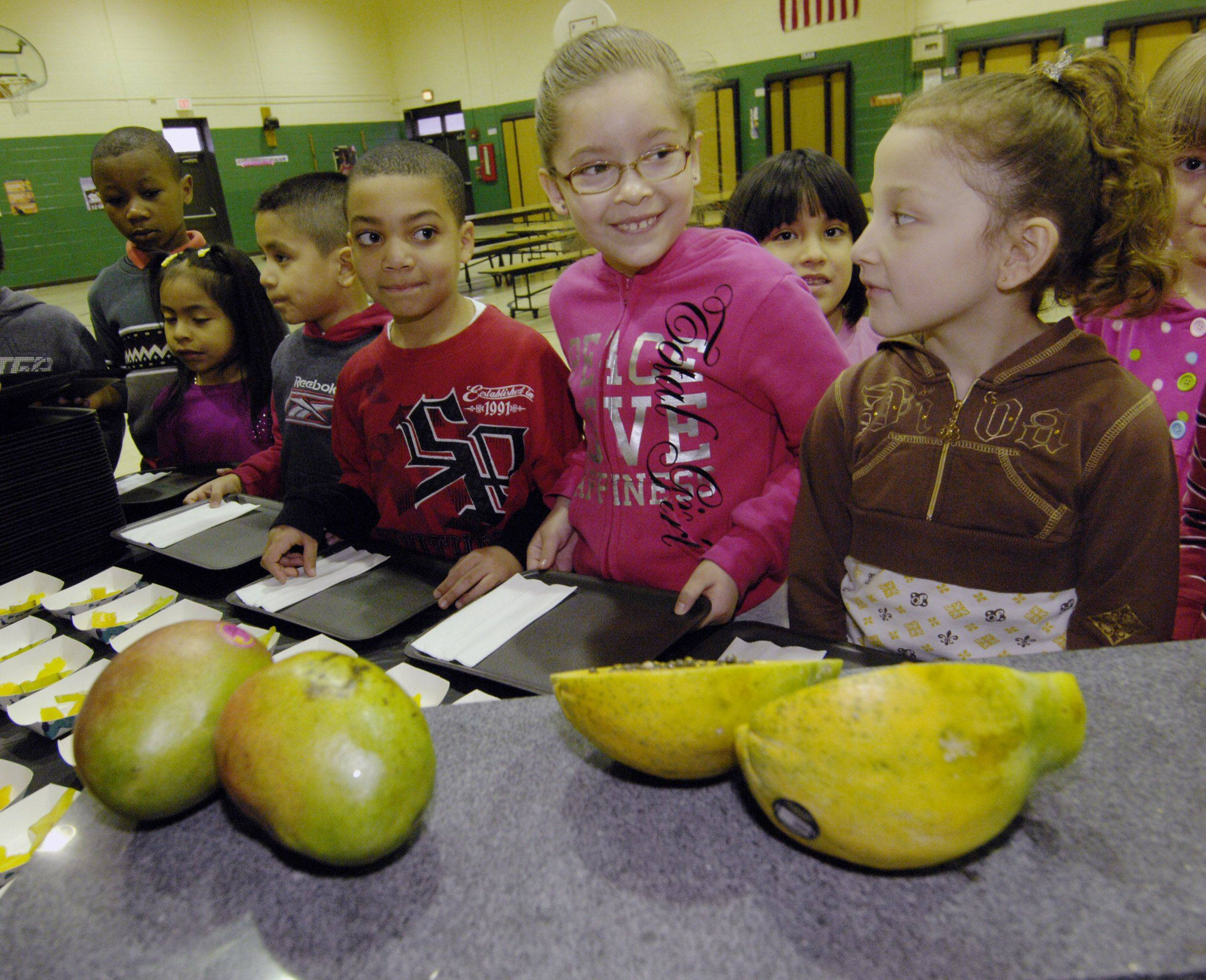First graders at Reskin Elementary School are all smiles at the exotic fruit table during the school's farmers market event. The event for students is funded through a fresh fruit and vegetable grant program.
