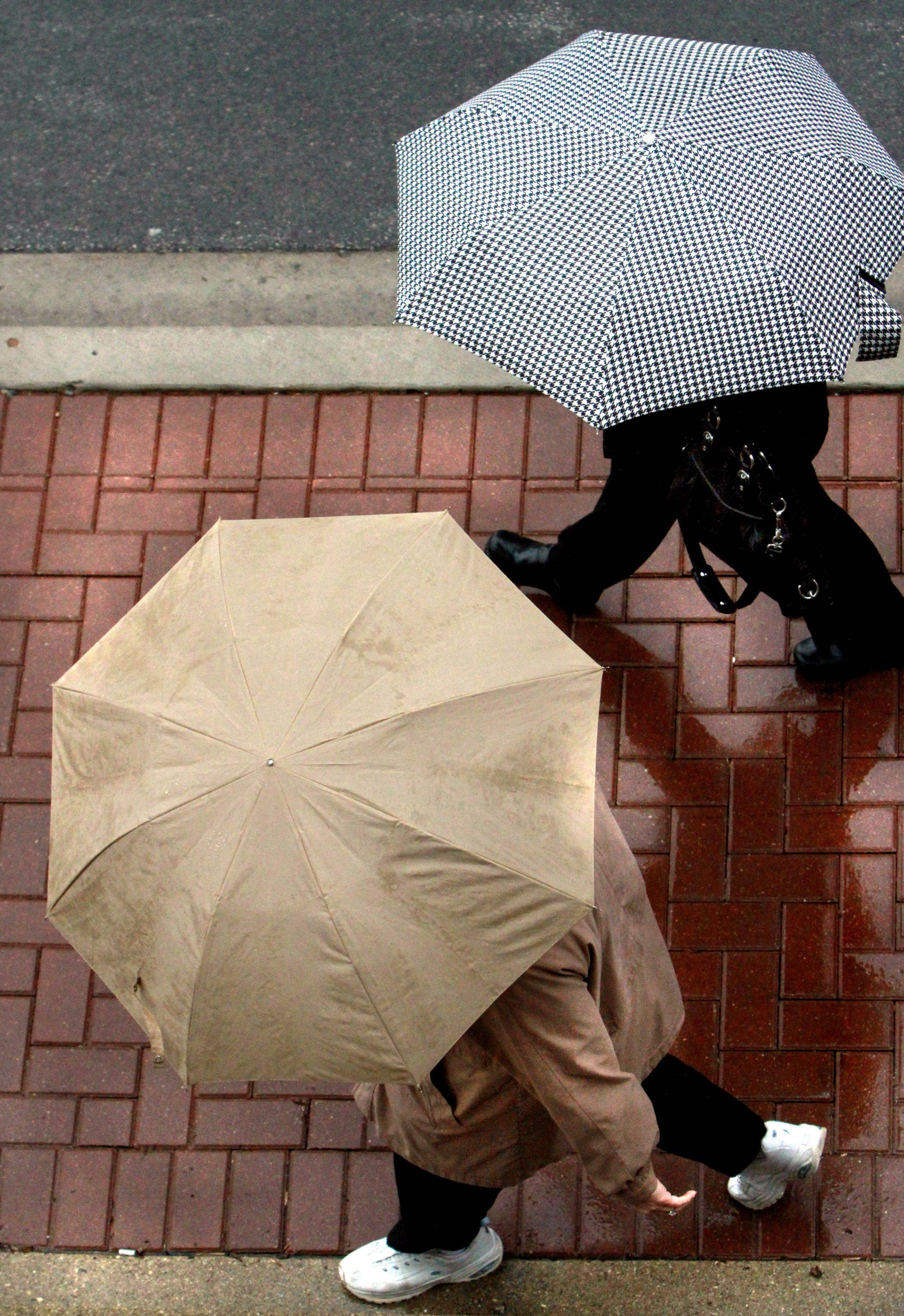 Cindy Schroeder of Arlington Heights, top, and Cindy Prince of Mt. Prospect needed their umbrellas on Wednesday as they headed back to work in Arlington Heights after having lunch near their office downtown.